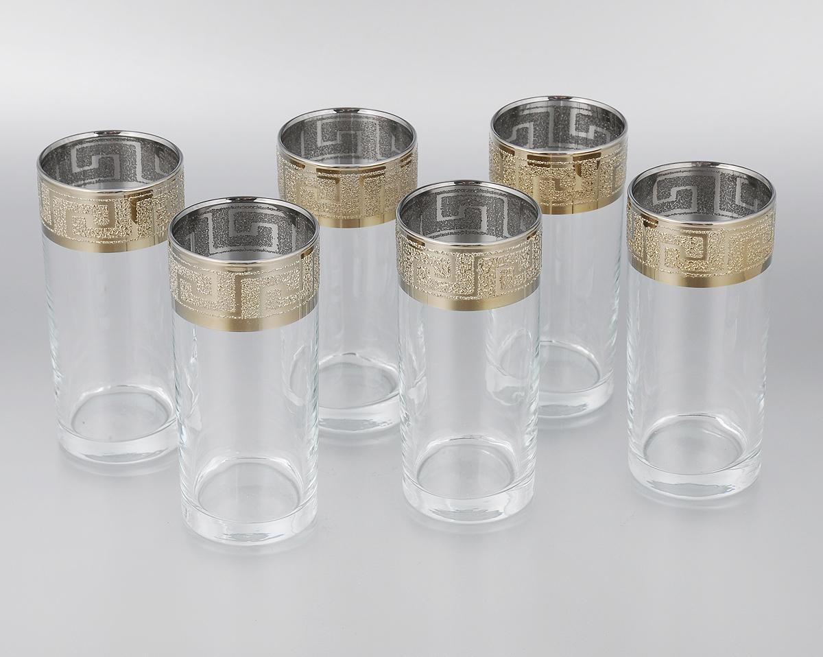 Набор стаканов для сока Мусатов Греция, 290 мл, 6 шт402/40Набор Мусатов Греция состоит из 6 стаканов, изготовленных из высококачественного натрий-кальций-силикатного стекла. Изделия оформлены красивой широкой окантовкой с оригинальным орнаментом. Стаканы предназначены для подачи сока, а также воды и коктейлей. Такой набор прекрасно дополнит праздничный стол и станет желанным подарком в любом доме. Разрешается мыть в посудомоечной машине. Диаметр стакана (по верхнему краю): 6 см. Высота стакана: 13,5 см.
