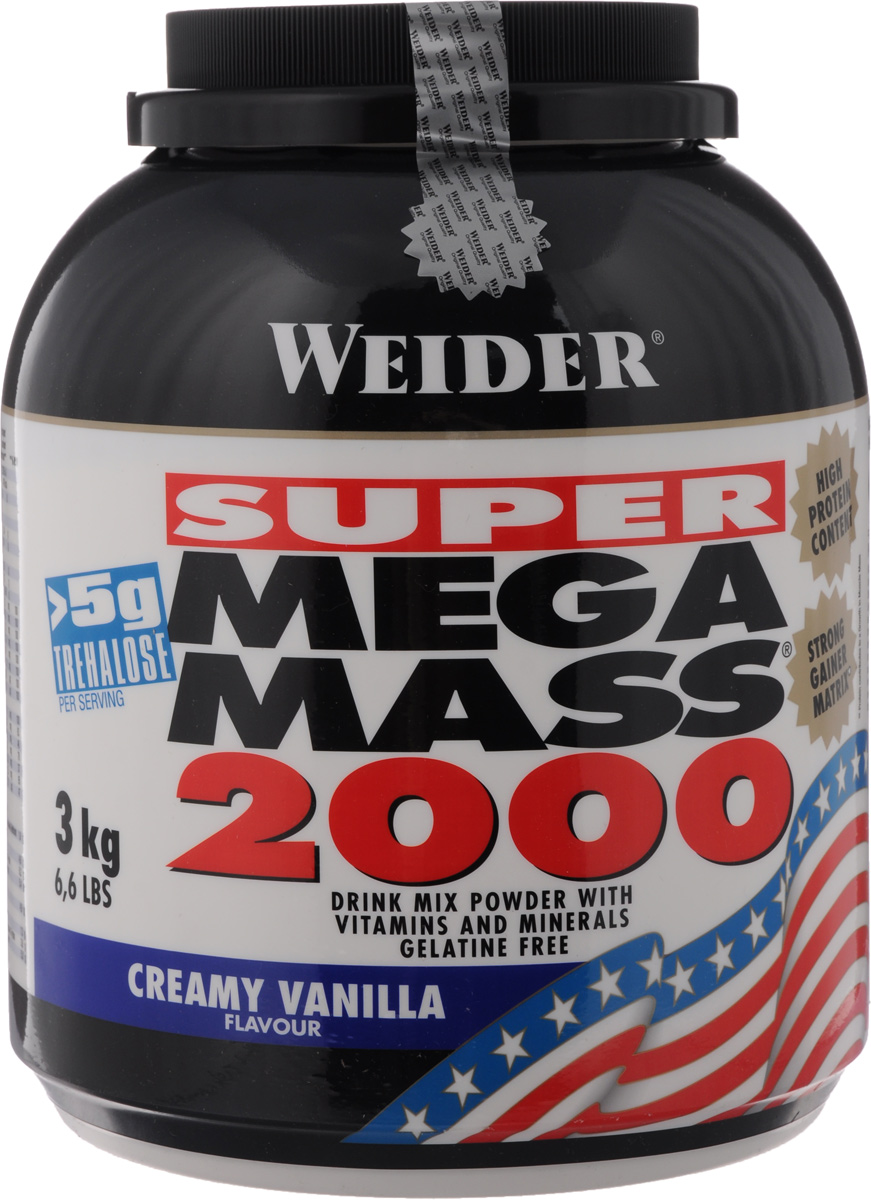 Гейнер Weider Super Mega Mass 2000, ваниль, 3 кг32807Гейнер Weider Mega Mass 2000 - высококачественныйпродукт для наращивания мышечной массы. Белковаясоставляющая продукта - это концентрат молочного протеинаи изолят соевого протеина. Каждая порция Weider Mega Mass2000 содержит более 5 г трехалозы - соединение,участвующее в процессах роста, и 2,7 г таурина. В порции коктейля содержатся витамины и минералы воптимальных количествах. К банке прилагается мерная ложка. Рекомендации по применению: Пейте один коктейль за 1-1,5 часа до тренировки. Внетренировочные дни - между завтраком и обедом. Рекомендации по приготовлению: 90 г порошка размешать в 300 мл молока до 1,5% жирности.Состав: декстроза, мальтодекстрин, фруктоза, концентратсывороточного протеина, изолят соевого протеина, крахмал,соевый лецитин, карбонат магния, фосфат калия, хлориднатрия, витамины. Питательная ценность: (порция 90 г): белки - 30,5 г, углеводы -71,1 г, жиры - 5,8 г, натрий - 0,26 г, таурин - 2,7 г, витамин Е - 10мг (100% PCH*), витамин С - 60 мг (100% PCH*), витамин В1 -1,4 мг (100% PCH*), витамин В2 - 1,6 мг (100% PCH*), ниацин -18 мг (100% PCH*), витамин В6 - 2 мг.Энергетическая ценность (порция 90 г): 460 ккал. Товар сертифицирован.Как повысить эффективность тренировок с помощью спортивного питания? Статья OZON Гид