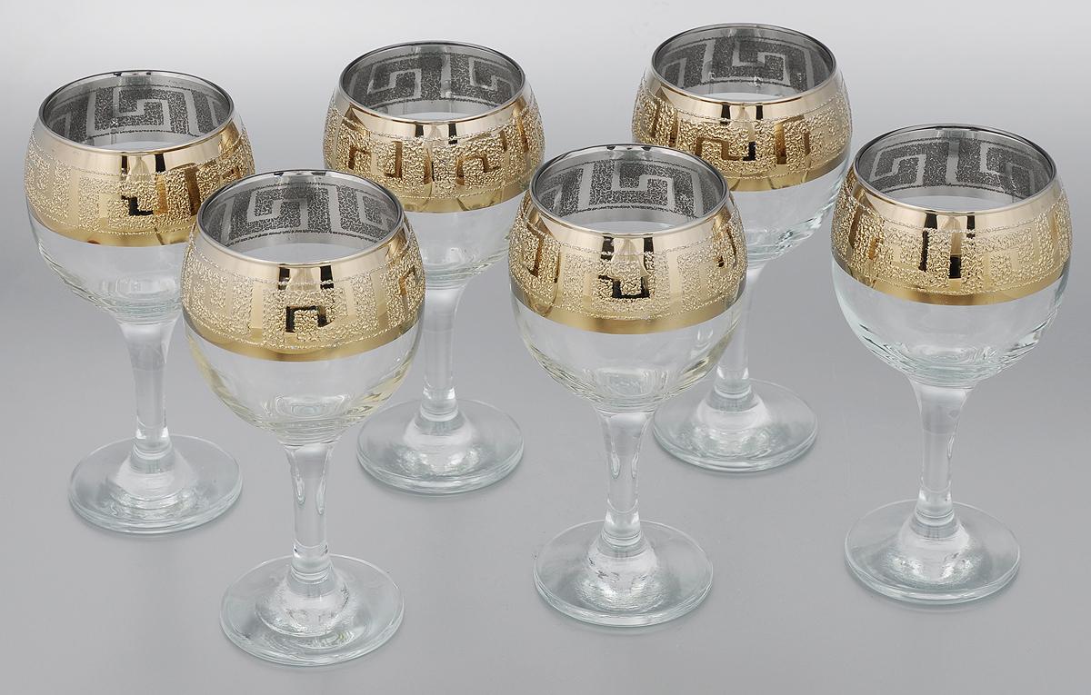 Набор бокалов для вина Мусатов Греция, 260 мл, 6 шт411/40Набор Мусатов Греция состоит из 6 бокалов, изготовленных из высококачественного стекла. Бокалы имеют прозрачную поверхность и декорированы позолоченной окантовкой с орнаментом. Набор предназначен для подачи вина. Набор фужеров Мусатов Бьюти прекрасно оформит праздничный стол и создаст приятную атмосферу за романтическим ужином. Такой набор также станет хорошим подарком к любому случаю.Диаметр бокала (по верхнему краю): 6,5 см. Высота бокала: 16 см. Диаметр основания бокала: 6,5 см.