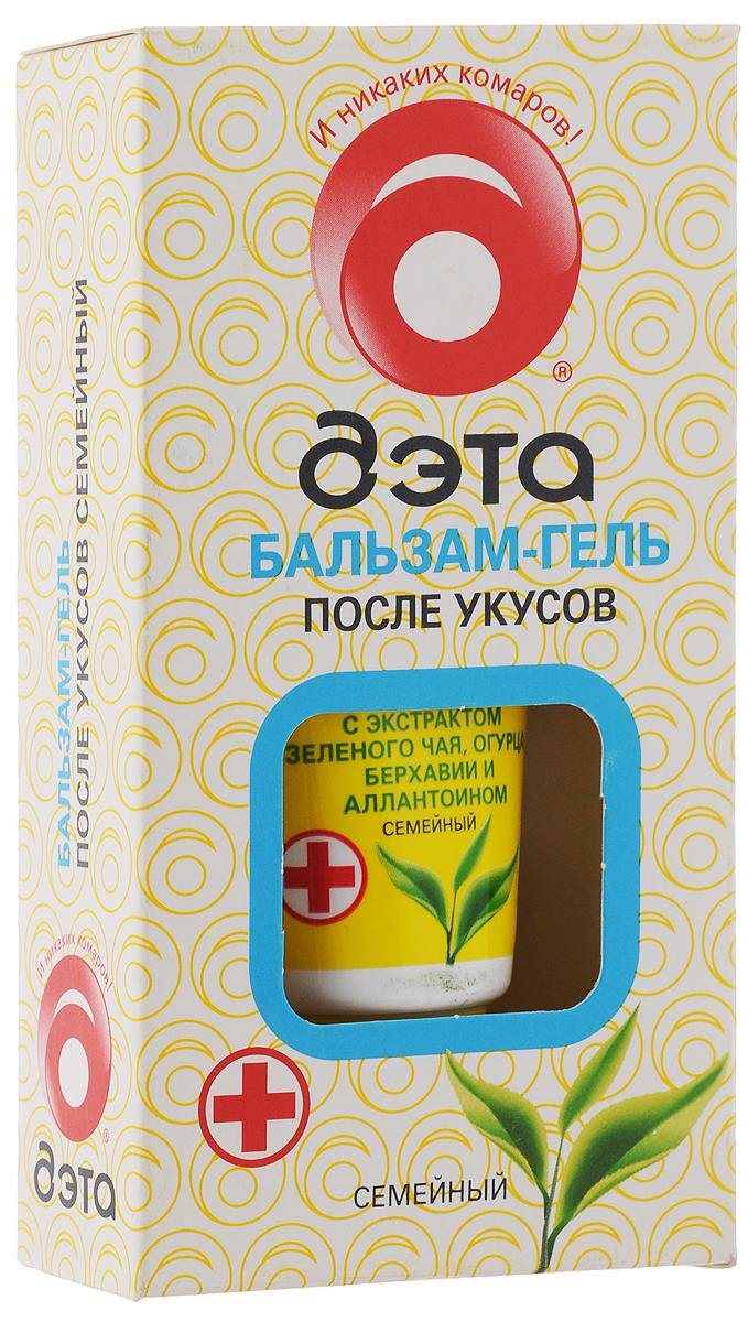 Бальзам-гель после укусов насекомых Дэта Семейный, с экстрактом зеленого чая, 20 мл66704504Бальзам-гель Дэта Семейный эффективен для устранения неприятных ощущений после укусов насекомых. Бальзам мягко охлаждает кожу, снимает зуд и покраснения. Экстракт зеленого чая, входящий в состав бальзама, является природным антиоксидантом, обладает противовоспалительным действием. Экстракт огурца снимает отечность, а экстракт берхавии оказывает успокаивающее действие. Бальзам хорошо увлажняет и питает кожу тела.Состав: вода, экстракт зеленого чая, экстракт огурца, экстракт берхавии раскидистой, метилпарабен, пропилпарабен, загуститель, аллантоин, триэтаноламин, отдушка.Товар сертифицирован.