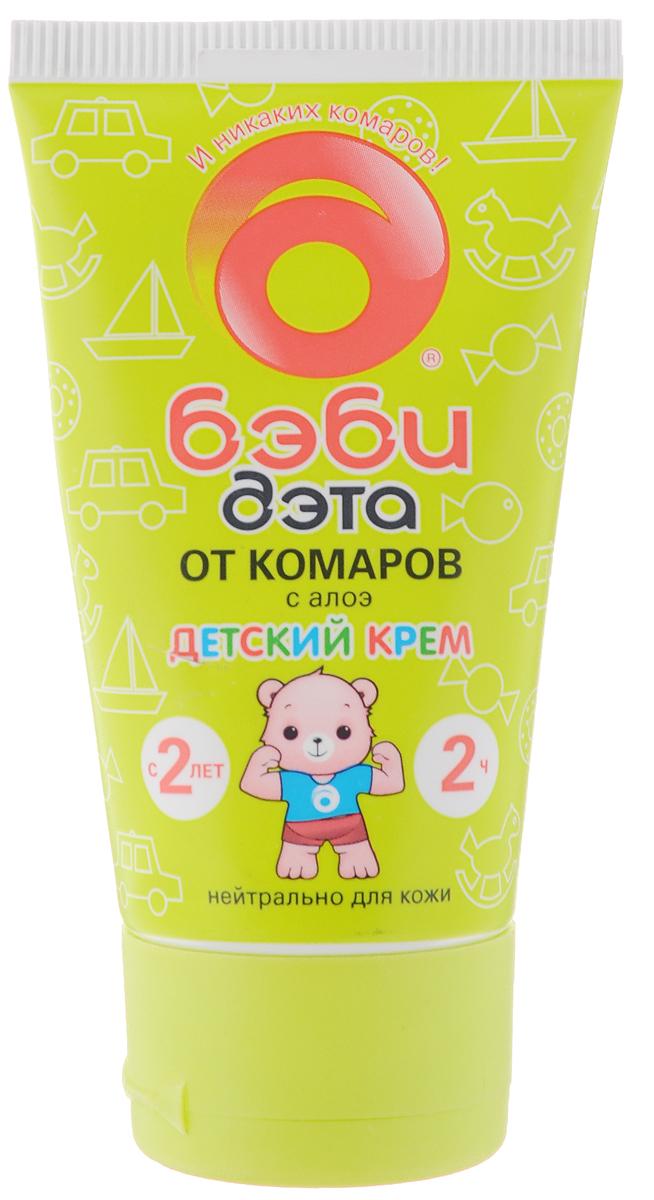 """Крем """"Бэби Дэта"""" специально разработан для бережной защиты детей с двух лет.  Он эффективно защищает от укусов комаров, москитов и мокрецов в течение двух  часов. Благодаря алоэ крем ухаживает за кожей, смягчая и увлажняя ее. Не  содержит спирт. Состав: 7,5% N,N-диэтил-m-толуамид, моностеарат глицерина, стеариновая  кислота, глицерин, триэтаноламин, желатин, бензоат натрия, сок алоэ, отдушка,  вода. Товар сертифицирован."""