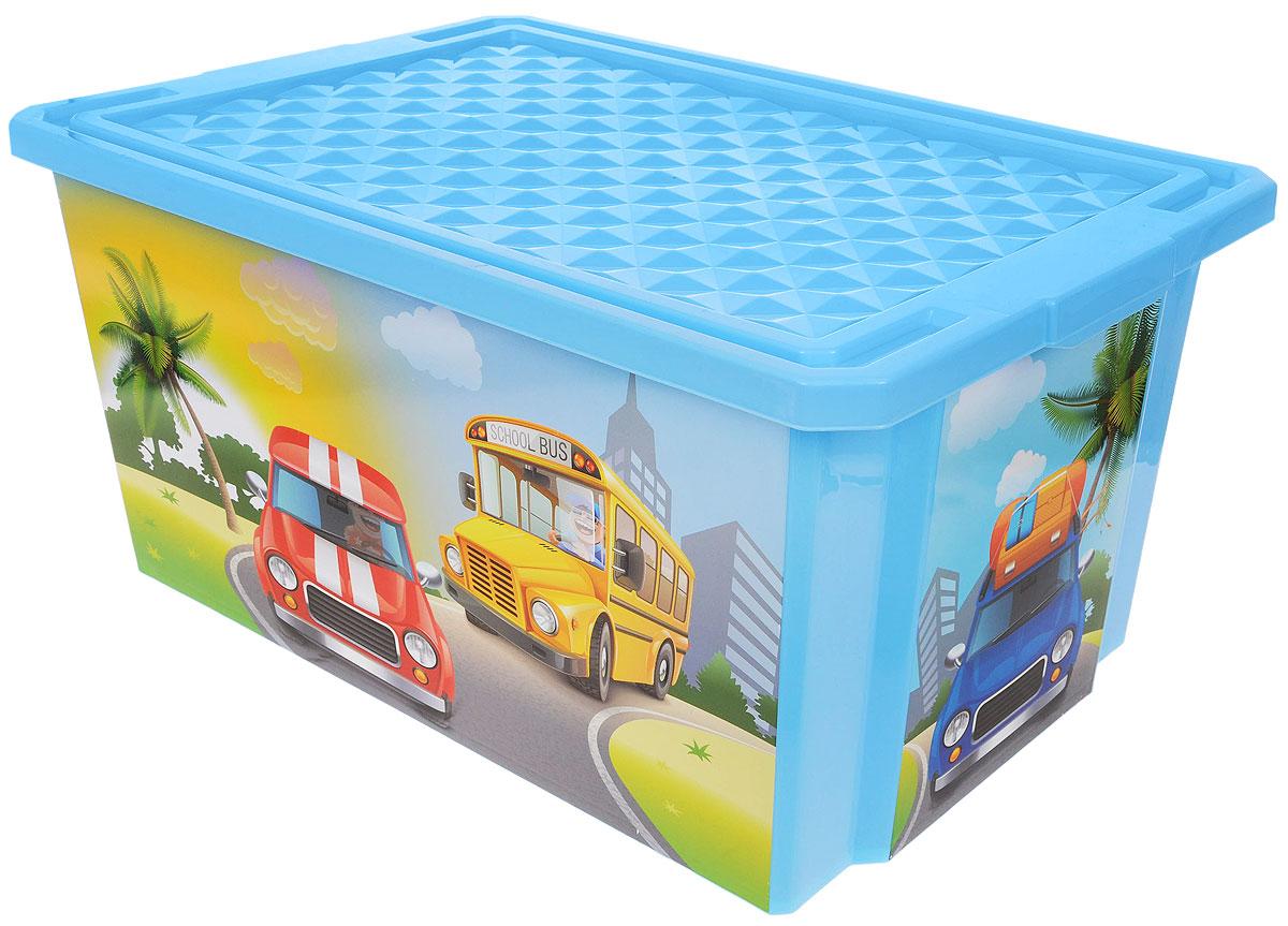 Little Angel Ящик для игрушек X-Box City Cars на колесах 61 х 40,5 х 33 см