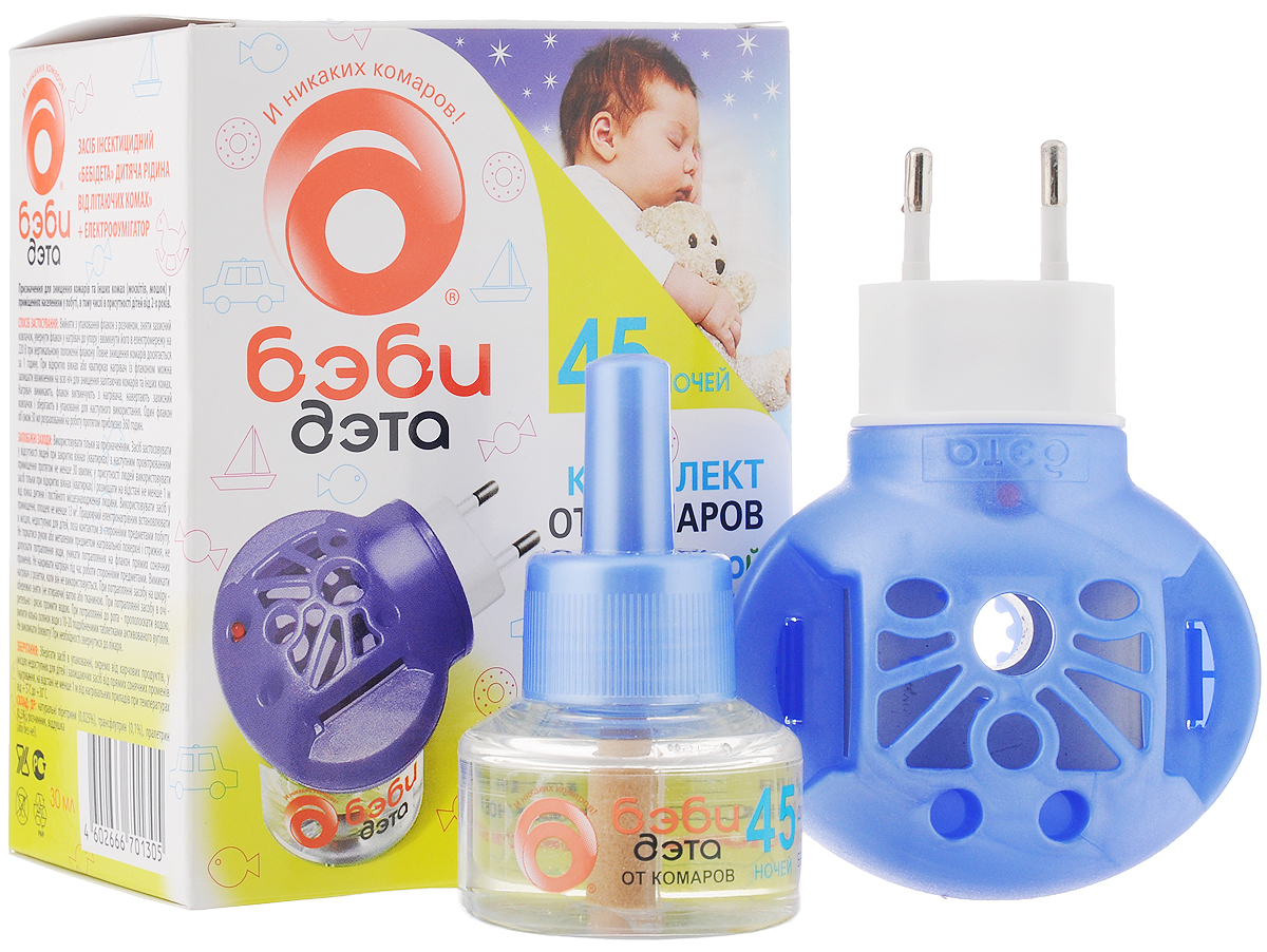 Фумигатор Бэби Дэта, универсальный, для детской комнаты, + жидкость от комаров, с индикатором включения, 45 ночей, 30 мл 766976 дэта