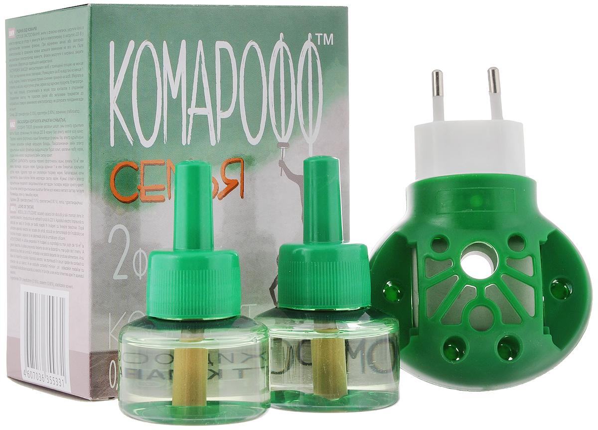 Фумигатор Комарофф Семья, универсальный, 2 флакона, без запаха, 90 ночей фумигатор argus жидкость от комаров 45 ночей