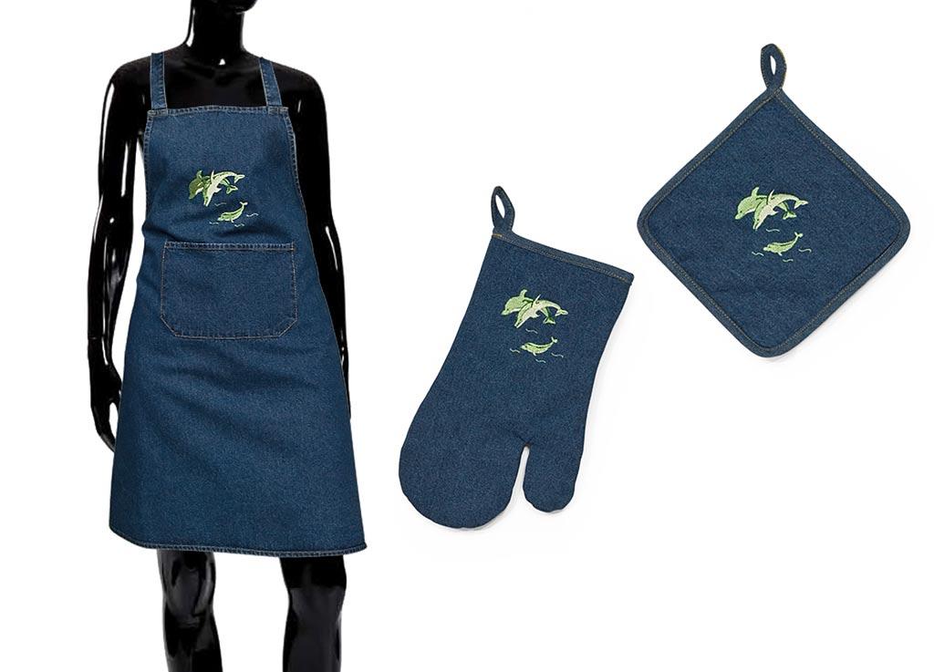 Варежка-прихватка Soavita Дельфины, цвет: синий, 18 х 30 см