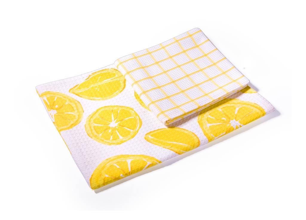 Набор кухонных полотенец Soavita Лимон, 40 х 60 см, 2 шт52343Вафельные полотенца Soavita Лимон выполнены из 100% хлопка и декорированы ярким рисунком. Изделия предназначены для использования на кухне и в столовой. Отлично впитывают влагу. Качество материала гарантирует безопасность не только взрослых, но и самых маленьких членов семьи. Полотенца Soavita идеально дополнят интерьер вашей кухни и создадут атмосферу уюта и комфорта.