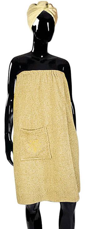 Набор для бани Soavita, цвет: бежевый, 2 предмета. 5684056840Набор для бани Soavita включает в себя чалму и парео, изготовленные из высококачественного махрового материала. Мягкая махровая ткань отлично впитывает влагу и быстро сохнет.Чалма защитит волосы от сухости и ломкости, а голову - от перегрева и предотвратит появление головокружения. Парео дополнено резинкой для надежной фиксации на теле и вместительным накладным карманом. Его можно использовать как коврик для бани или полотенце.Чалма и парео - это незаменимые аксессуары для любителей попариться в русской бане и для тех, кто предпочитает сухой жар финской бани.