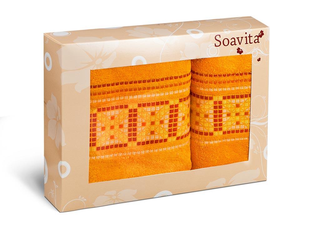 Набор махровых полотенец Soavita Star, цвет: темно-желтый, 2 шт70316Махровое полотно создается из хлопковых нитей, которые, в свою очередь, прядутся из множества хлопковых волокон. Чем длиннее эти волокна, тем прочнее будет нить, и, соответственно, изделие. Длина составляющих хлопковую нить волокон влияет и на фактуру получаемой ткани: чем они длиннее, тем мягче и пушистее получится махровое изделие, тем лучше будет впитывать изделие воду. Хотя на впитывающие качество махры – ее гигроскопичность, не в последнюю очередь влияет состав волокна. Мягкая махровая ткань отлично впитывает влагу и быстро сохнет.