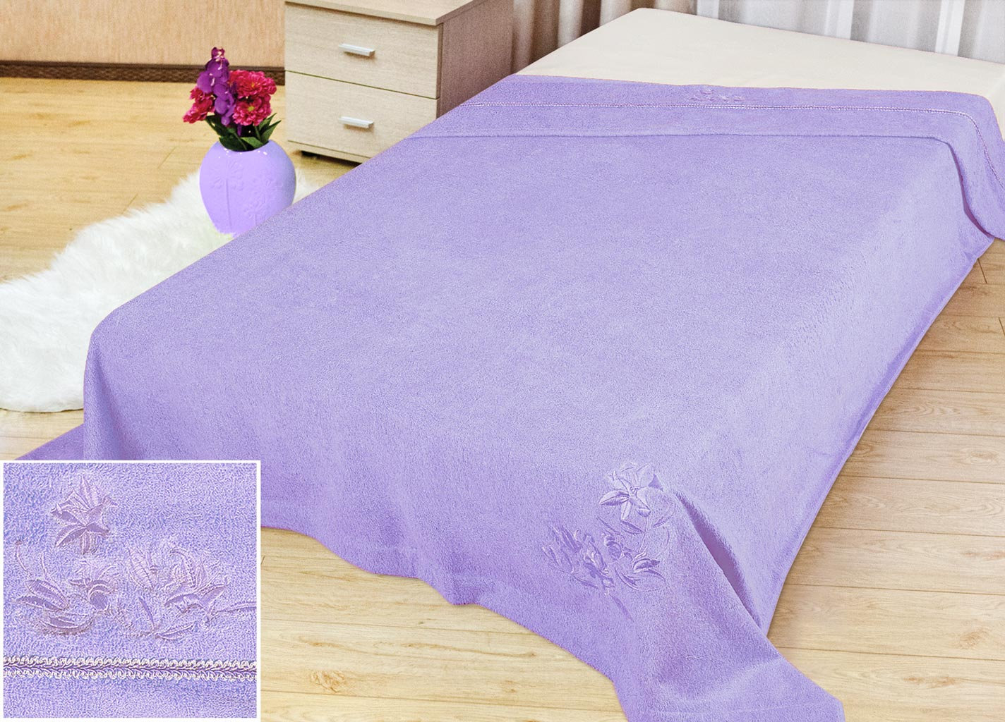 Покрывало Soavita Бамбук, цвет: лиловый, 180 х 220 см70469Махровое покрывало Soavita Бамбук изготовлено из экологически чистого натурального хлопка, поэтому подходит как для взрослых, так и для детей. Оно будет хорошо смотреться и на диване, и на большой кровати. Благодаря яркому и необычному дизайну, покрывало не только подарит тепло, но и гармонично впишется в интерьер комнаты.Махровое полотно создается из хлопковых нитей, которые, в свою очередь, прядутся из множества хлопковых волокон. Чем длиннее эти волокна, тем прочнее будет нить, и, соответственно, изделие. Длина составляющих хлопковую нить волокон влияет и на фактуру получаемой ткани: чем они длиннее, тем мягче и пушистее получится махровое изделие, тем лучше будет впитывать изделие воду. Хотя на впитывающие качество махры - ее гигроскопичность, не в последнюю очередь влияет состав волокна. Мягкая махровая ткань отлично впитывает влагу и быстро сохнет.