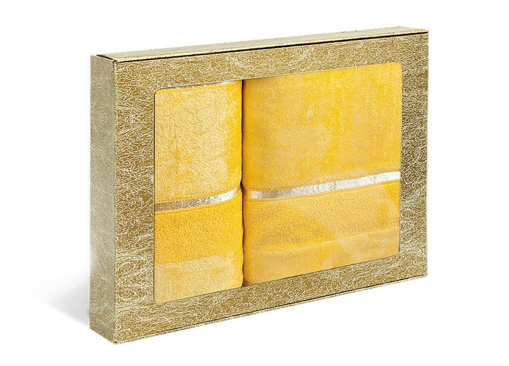 Набор махровых полотенец Soavita Louise, цвет: желтый, 2 шт71205Махровое полотно создается из хлопковых нитей, которые, в свою очередь, прядутся из множества хлопковых волокон. Чем длиннее эти волокна, тем прочнее будет нить, и, соответственно, изделие. Длина составляющих хлопковую нить волокон влияет и на фактуру получаемой ткани: чем они длиннее, тем мягче и пушистее получится махровое изделие, тем лучше будет впитывать изделие воду. Хотя на впитывающие качество махры – ее гигроскопичность, не в последнюю очередь влияет состав волокна. Мягкая махровая ткань отлично впитывает влагу и быстро сохнет.