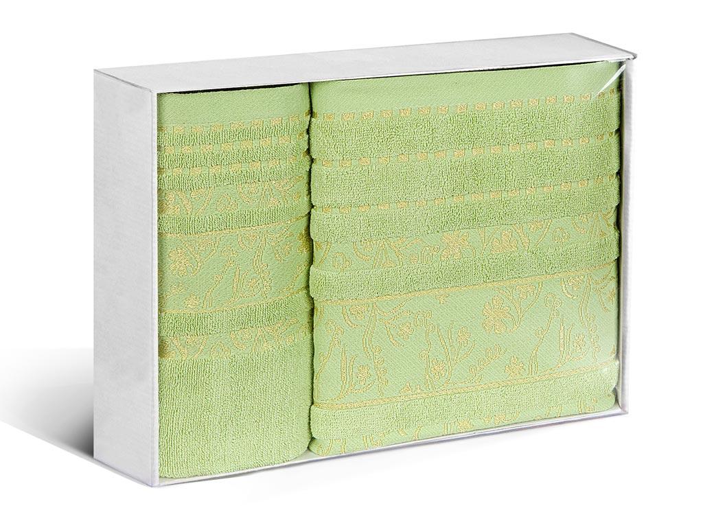 Набор махровых полотенец Soavita Sandra, цвет: зеленый, 2 шт83144Махровое полотно создается из хлопковых нитей, которые, в свою очередь, прядутся из множества хлопковых волокон. Чем длиннее эти волокна, тем прочнее будет нить, и, соответственно, изделие. Длина составляющих хлопковую нить волокон влияет и на фактуру получаемой ткани: чем они длиннее, тем мягче и пушистее получится махровое изделие, тем лучше будет впитывать изделие воду. Хотя на впитывающие качество махры – ее гигроскопичность, не в последнюю очередь влияет состав волокна. Мягкая махровая ткань отлично впитывает влагу и быстро сохнет.
