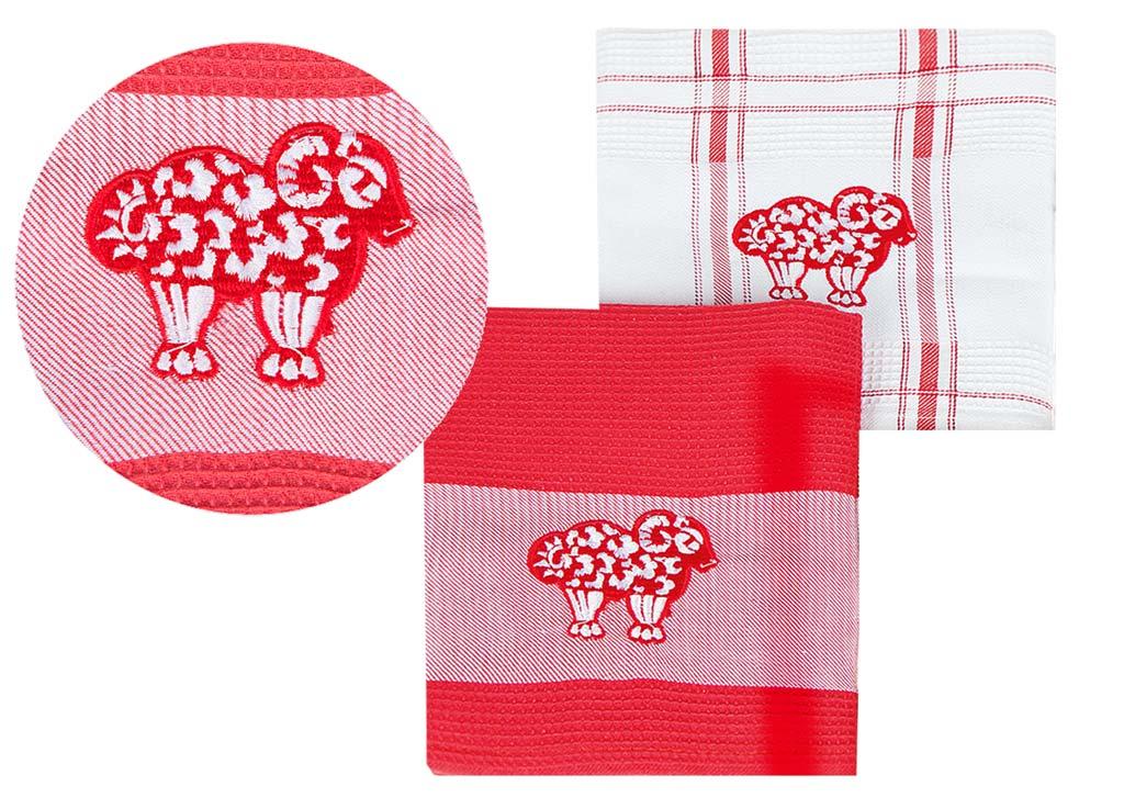 Набор кухонных полотенец Soavita Символ Года цвет: красный, 43 х 68 см, 2 шт74705Перед использованием постирать при температуре не выше 40 градусов
