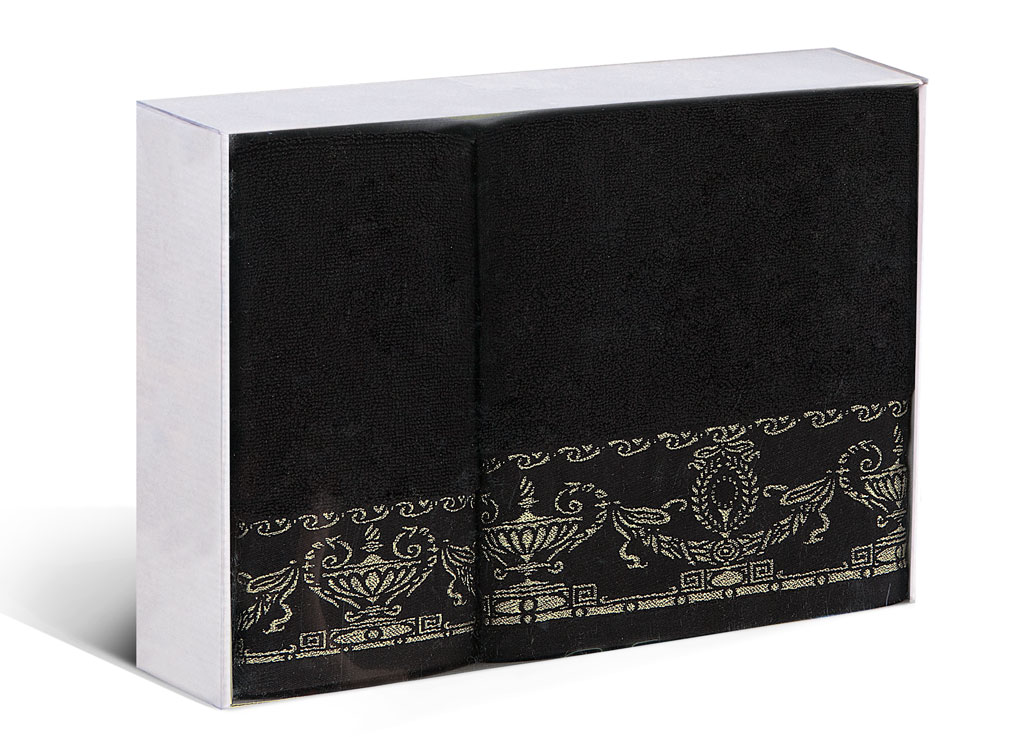 Набор полотенец Soavita Амфора, цвет: черный, 2 шт77698Набор Soavita Амфора состоит из 2 махровых полотенец. Изделия выполнены из хлопка. Полотенца используются для протирки различных поверхностей, также широко применяются в быту.Такой набор станет отличным вариантом для практичной и современной хозяйки.Махровое полотно создается из хлопковых нитей, которые, в свою очередь, прядутся из множества хлопковых волокон. Чем длиннее эти волокна, тем прочнее будет нить, и, соответственно, изделие. Длина составляющих хлопковую нить волокон влияет и на фактуру получаемой ткани: чем они длиннее, тем мягче и пушистее получится махровое изделие, тем лучше будет впитывать изделие воду. Хотя на впитывающие качество махры - ее гигроскопичность, не в последнюю очередь влияет состав волокна. Мягкая махровая ткань отлично впитывает влагу и быстро сохнет.Размер полотенец: 45 х 80 см, 65 х 125 см.