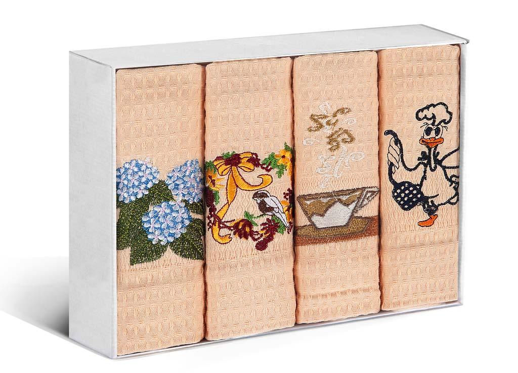 Набор кухонных полотенец Soavita, цвет: персиковый, 40 х 60 см, 4 шт. 7989679896Набор Soavita состоит из 4 вафельных полотенец. Изделия выполнены из высококачественного 100% хлопка и оформлены яркими, оригинальными вышивками. Полотенца используются для протирки различных поверхностей, также широко применяются в быту.Такой набор станет отличным вариантом для практичной и современной хозяйки.