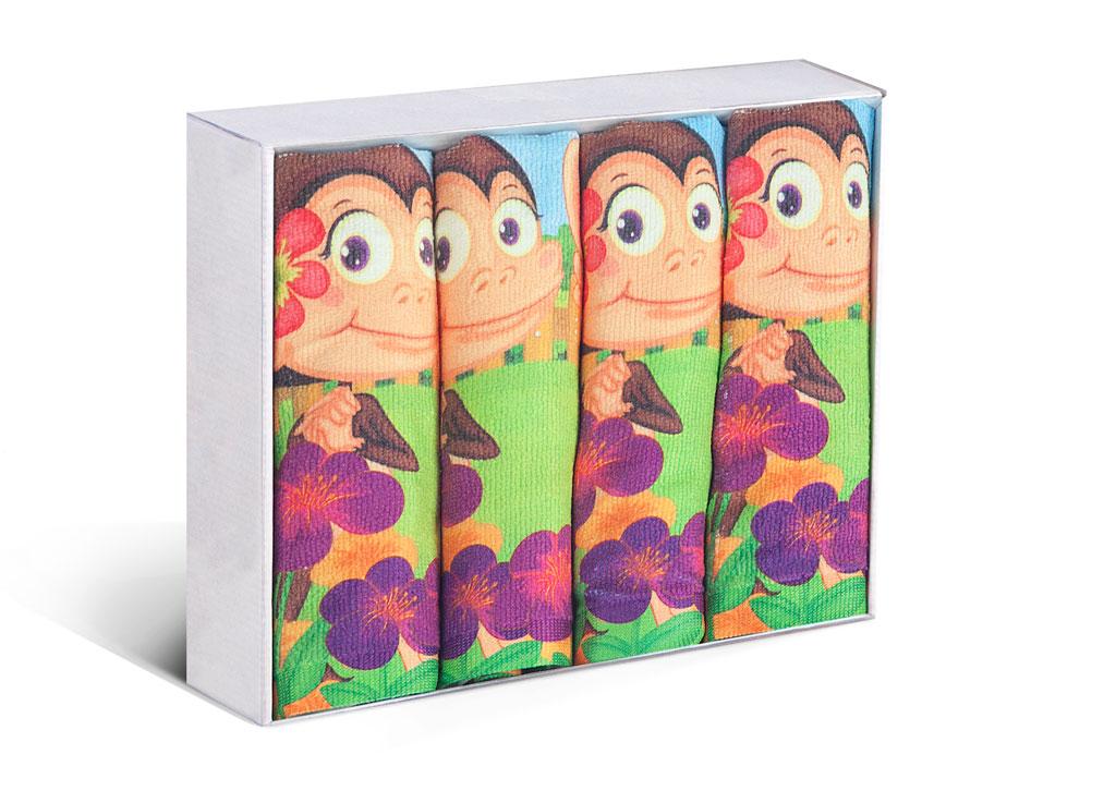 Набор кухонных полотенец Soavita Monkey, цвет: зеленый, коричневый, 38 х 64 см, 4 шт82204Набор Soavita Monkey состоит из четырех кухонных полотенец, выполненных из высококачественной микрофибры и оформленных ярким рисунком с изображением забавных обезьянок. Микрофибра - материал высочайшего качества, изготовленный из сложных микроволокон, по ощущениям напоминает велюр и передающий уникальное и невероятное чувство мягкости. Ткань из микрофибры дышащая, устойчива к загрязнениям и пятнам, сохраняет свой высококачественный внешний вид и уникальную мягкость в течение всего срока службы. Размер полотенец: 38 х 64 см.