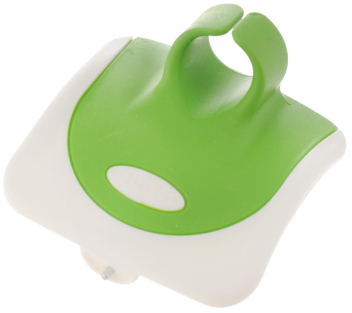Овощечистка Chefn, цвет: зеленый, белый102-040-011Овощечистка Chefn выполнена из пластика, стали и силикона. Изделие очень удобно. Овощечистка помещается в руку и одевается на палец. Удобная овощечистка Chefn поможет вам очень быстро и без особого усилия почистить овощи.Можно мыть в посудомоечной машине.Общая длина овощечистки: 7 см.