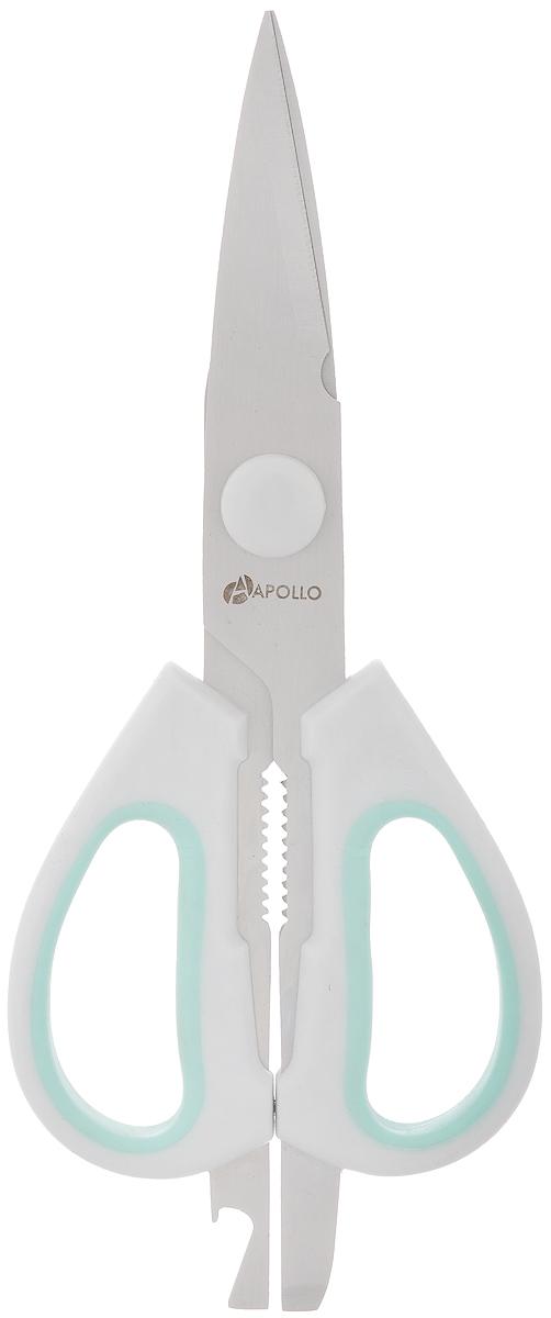 Ножницы кухонные Apollo Stratus, цвет: серый, зеленый, длина 21,5 смSTS-99_серый, зеленыйНожницы Apollo Stratus, изготовленные из нержавеющей стали и пластика, являются универсальным помощником в вашем доме. На ручке предусмотрен небольшой металлических нож для открытия картонных и полимерных упаковок, а также открывалка для бутылок.Ножницы Apollo Stratus будут отличным помощником на вашей кухне.Длина: 21,5 см.Длина лезвий: 11 см.