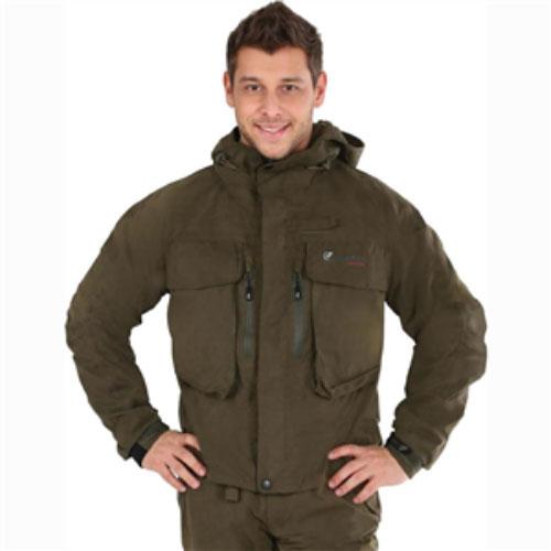 Куртка мужская рыболовная FisherMan Nova Tour Риф, цвет: хаки. 46023-530. Размер L (54)46023-530Мужская куртка Nova Tour Риф - идеальный вариант для забродной рыбалки. Куртка выполнена из мембранной ткани. Также имеется подкладка из мембранной микросетки. Мембрана не пропускает влагу внутрь, а при физической активности пропускает испарения от тела наружу. Герметизация швов специальной лентой обеспечивает полную водонепроницаемость. Куртка анатомической формы дополнена капюшоном с жестким козырьком. Капюшон не отстегивается и утягивается скрытой резинкой на кулисках. Спереди по всей длине она застегивается на пластиковую застежку-молнию, а сверху дополнительно двойной планкой на липучках и кнопках. Спереди модель дополнена двумя большими накладными карманами с клапаном на липучках и двумя прорезными карманами на застежке-молнии. С внутренней стороны также предусмотрены два кармана - накладной и прорезной на застежке-молнии. Рукава понизу дополнены широкими манжетами с эластичной вставкой и резиновым хлястиком на липучке. Низ модели дополнен скрытой резинкой на кулисках.Для поддержки удилища имеется крепление «третья рука». Оформлена модель принтовой надписью «Fisherman Nova Tour»