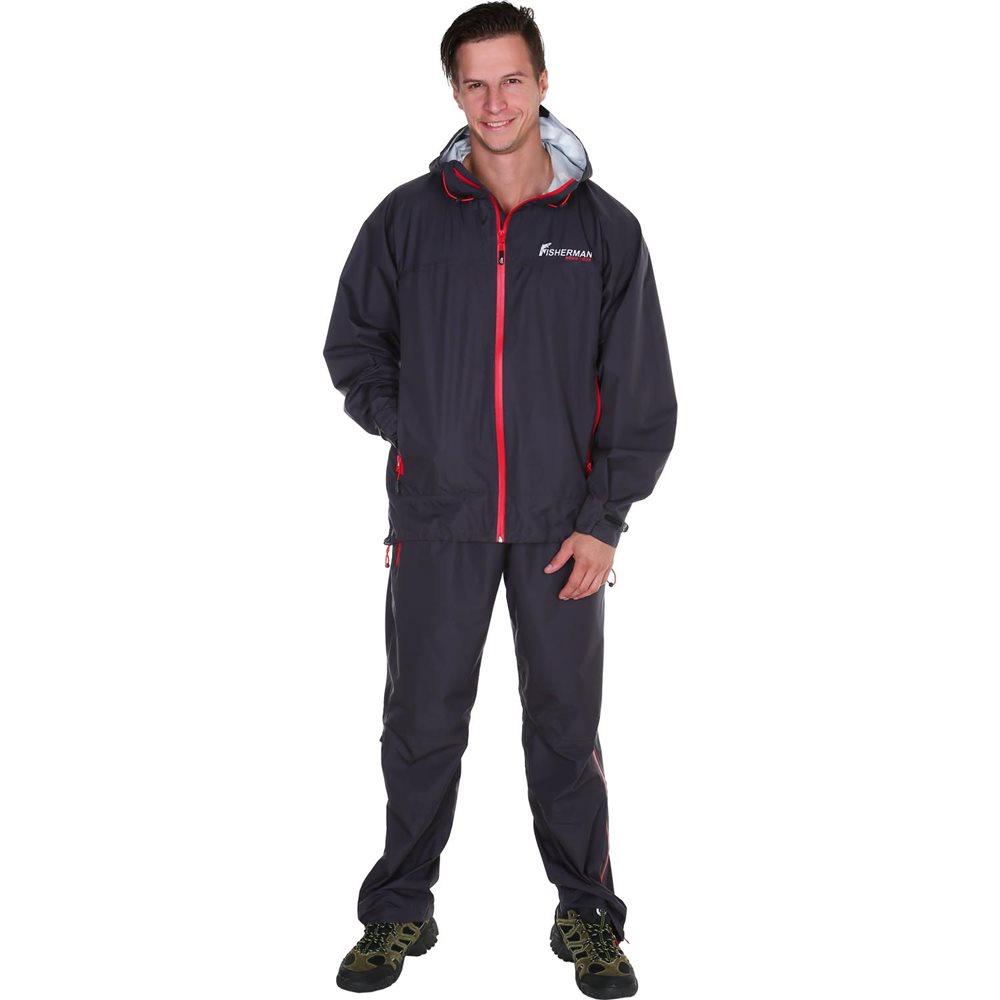 Костюм рыболовный мужской FisherMan Nova Tour Шелтер PRO, цвет: графит. 95426-924. Размер M (52)95426-924Костюм стал еще легче, обеспечивает надежную защиту от дождя, а благодаря мембране 10000/10000 отлично отводит влагу от тела. У костюма все швы проклеены, есть удобные карманы для рук. Упаковка в специальный чехол позволяет взять костюм с собой на рыбалку в любое время! Незаменимый помощник для любого рыболова, в любой ливень!
