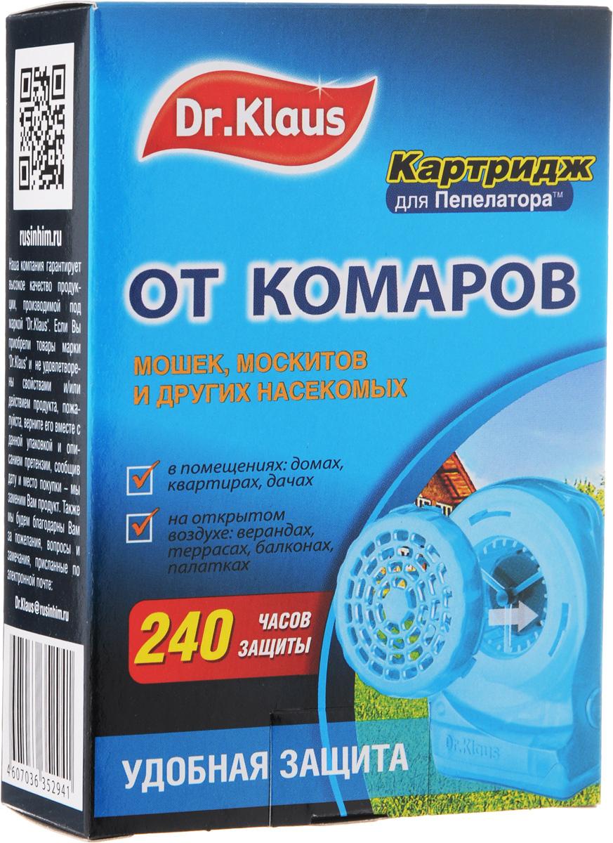 """Картридж """"Dr.Klaus"""" предназначен для защиты от комаров и других летающих  насекомых ( москитов, мошек, мокрецов) на открытом воздухе (в лесу, парках, у  водоемов, на приусадебных участках в безветренную погоду), а также в  проветриваемых  помещениях, автомобилях, палатках.  Картридж рассчитан на работу в течение 240 часов. Состав: 30% флайтрин (трансфлутрин технический), технологические добавки.  Товар сертифицирован."""