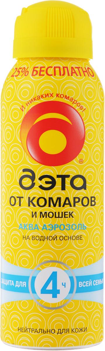 Аэрозоль от комаров и мошек Дэта Аква, 125 мл66707703Аэрозоль Дэта Аква обеспечивает надежную защиту от комаров, мошек,мокрецов и москитов втечение четырех часов. Удобная аэрозольная упаковкапозволяет легко наносить средство на кожу и на одежду. Благодаря рецептуре наводной основе не сушит кожу. Не оставляет пятен. Не содержит спирт. Состав: 15% N,N-диэтил-m-толуамид, пропиленгликоль, глицерин,эмульгатор, масло пихты, отдушка, консервант, вода, пропеллентуглеводородный.Товар сертифицирован.
