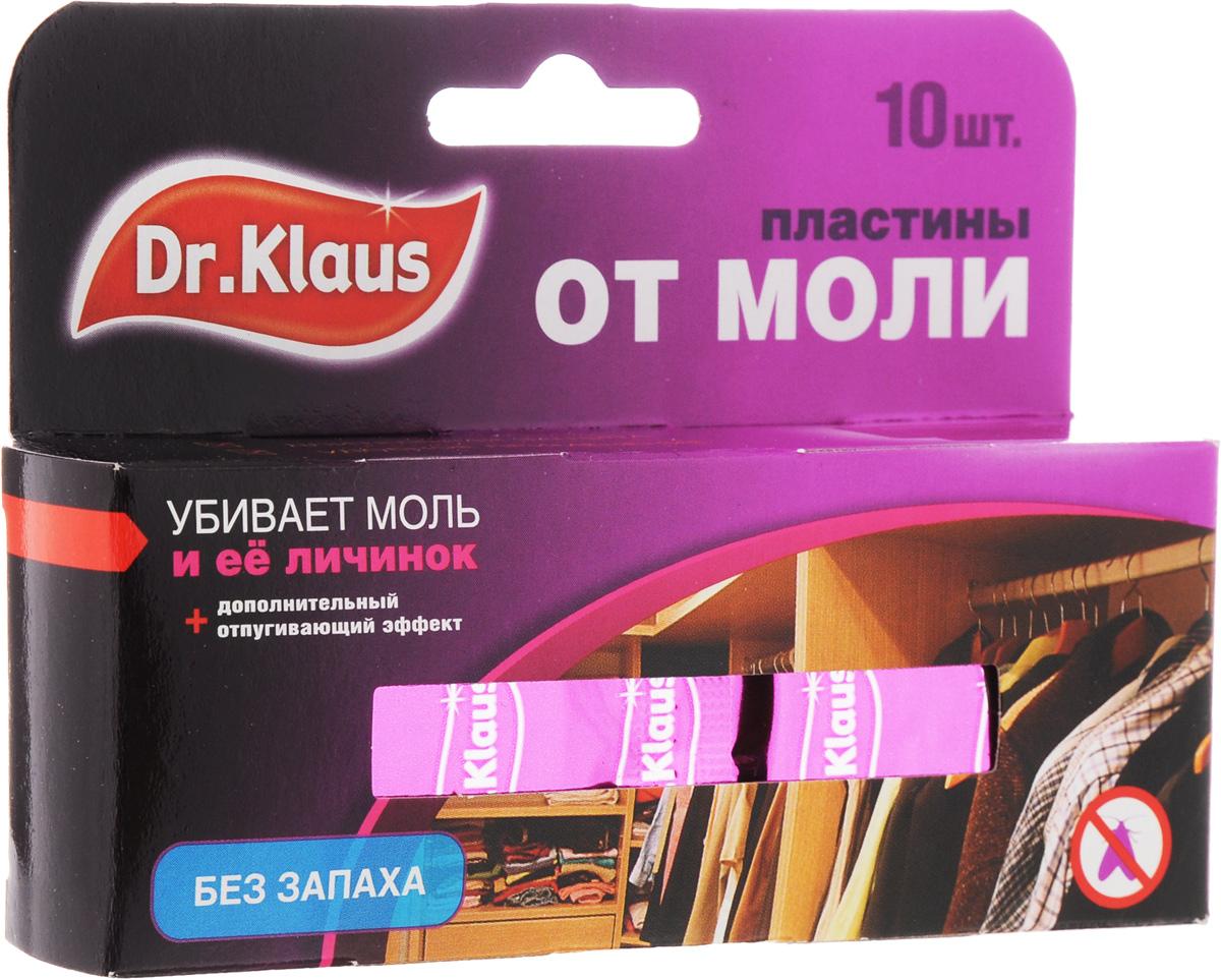"""Средство """"Dr.Klaus"""" предназначено для защиты шерсти, меха и изделий из них от  повреждения молью. Уничтожает личинок, а не просто отпугивает моль. Именно личинки портят вещи.  Состав: 0,8% трансфлутрин. Комплектация: 10 шт. Товар сертифицирован."""