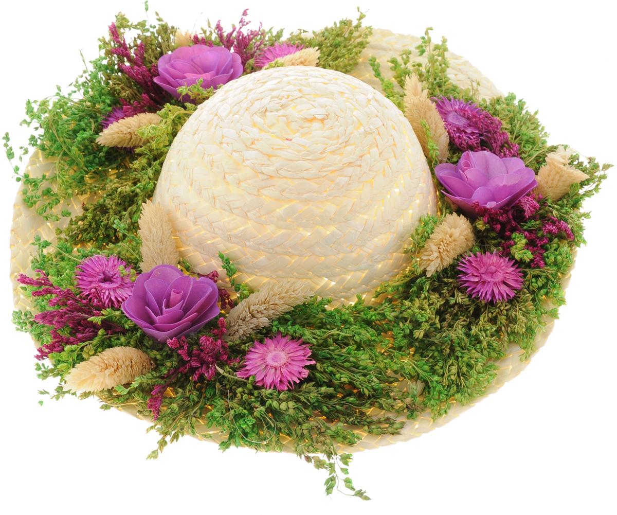 """Декоративное подвесное украшение Lillo """"Шляпа"""" выполнено из натуральной соломы и украшено сухоцветами. Такая шляпа станет изящным элементом декора в вашем доме. Изделие оснащено петелькой для подвешивания. Такое украшение не только подчеркнет ваш изысканный вкус, но и станет прекрасным подарком, который обязательно порадует получателя.Размер шляпы: 29 х 29 х 7,5 см."""