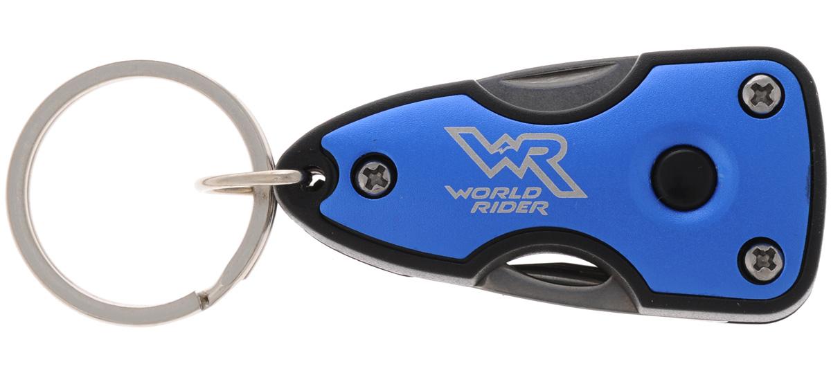 Нож многофункциональный World Rider, с фонариком, цвет: синий, стальнойWR 5003_синийКомпактный многофункциональный нож World Rider в пластиковом корпусе - это стильный аксессуар, который дает возможность постоянно держать при себе инструменты на разные случаи жизни. Набор включает в себя яркий светодиодный фонарик, мощности которого достаточно, чтобы осветить автомобильный или дверной замок в темное время суток.Изделие оснащено удобным кольцом для крепления.Функции: нож, открывалка для бутылок, крестовая отвертка, шлицевая отвертка, яркий светодиодный фонарик.Длина в сложенном виде: 6 см.Длина в разложенном виде: 9,5 см.Длина лезвия ножа: 3,5 см.