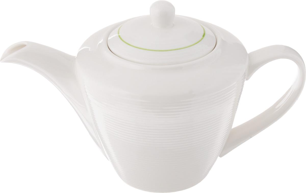 Чайник заварочный Gumertal Зеленая линия, цвет: белый, зеленый, 500 мл596-019Заварочный чайник Gumertal Зеленая линияизготовлен из высококачественной керамики с гладким глазурованным покрытием. Чайник снабжен удобной ручкой и широким носиком. В основании носика расположены фильтрующие отверстия от попадания чаинок в чашку. Изысканный заварочный чайник украсит сервировку стола к чаепитию. Благодаря красивому утонченному дизайну и качеству исполнения он станет хорошим подарком друзьям и близким.Не рекомендуется применять абразивные моющие средства. допускается использование в микроволновой печи и холодильнике. Можно мыть в посудомоечной машине. Диаметр чайника (по верхнему краю): 6 см. Высота чайника (без учета крышки): 10,5 см.