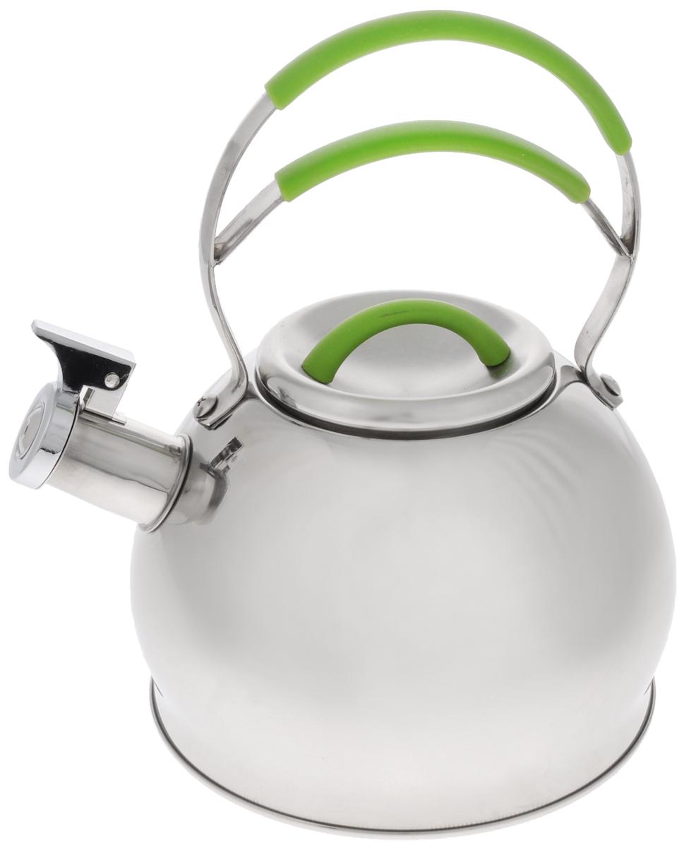Чайник Mayer & Boch, со свистком, 2,5 л. 2320723207_зеленыйЧайник со свистком Mayer & Boch выполнен из долговечной и прочной нержавеющей стали, которая не окисляется и устойчива к коррозии. Изделие оснащено свистком, благодаря которому вы можете не беспокоиться о том, что закипевшая вода зальет плиту. Как только вода закипит - свисток оповестит вас об этом. Капсулированное дно с прослойкой из алюминия обеспечивает наилучшее распределение тепла. Ручка чайника оснащена силиконовой вставкой. Удобный и практичный чайник отлично впишется в интерьер любой кухни.Чайник подходит для использования на всех типах плит, включая индукционные. Можно мыть в посудомоечной машине.Высота стенок чайника: 12,5 см.Общая высота чайника: 26 см.