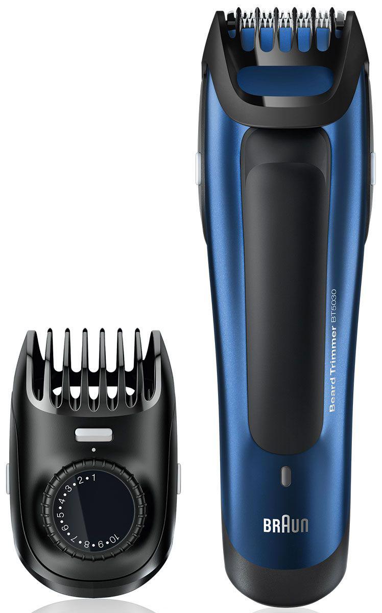 Braun BT 5030 триммер для бороды81517347Триммер для бороды Braun BT 5030 позволяет получить идеально выверенную длину и точные контуры - дванеобходимых условия любого отличного образа. Вне зависимости от того, хотите вы получить стильную щетинуили подровнять бороду, съемная насадка-триммер обеспечит отличный результат!Высокоточная шкала: Будьте точны в своем стиле до 0,5 мм:Именно потому, что между нормально и идеально расстояние не больше 0,5 мм, точный гребень предлагает вамименно такой шаг для длины от 1 до 10 мм. Просто установите необходимую длину.Узкий гребень Braun:Так как эти гребни созданы более прочными, чем остальные, они не сгибаются, благодаря чему ваши движениябудут более точными. Для ровного, точного, надежного и неизменного результата.Лезвия для точной стрижки всегда остаются острыми:Лезвия триммера разработаны для сохранения остроты на протяжении всего срока службы. Это обеспечиваетточную укладку и сводит к минимуму выдергивание и выщипывание, что гарантирует больший комфорт.Мощная эффективность, беспроводная работа:Для стабильных результатов даже в сложных условиях двойной аккумулятор поддерживает работу триммеранапостоянной мощности. Полная зарядка занимает всего 1 час и обеспечивает 50 минут беспроводной работы. 5- минутной быстрой зарядки достаточно для 1 стрижки.Полностью моющийся:Триммер для бороды Braun полностью моющийся - для простой очистки под проточной водой.Разработана для эффективной работы:Дизайн - это не только внешняя оболочка. Это еще и то, как прибор ощущается в руке и как насколько легко имуправлять. Триммер для бороды Braun позволяет добиться максимальной гибкости и точности в твоих руках.