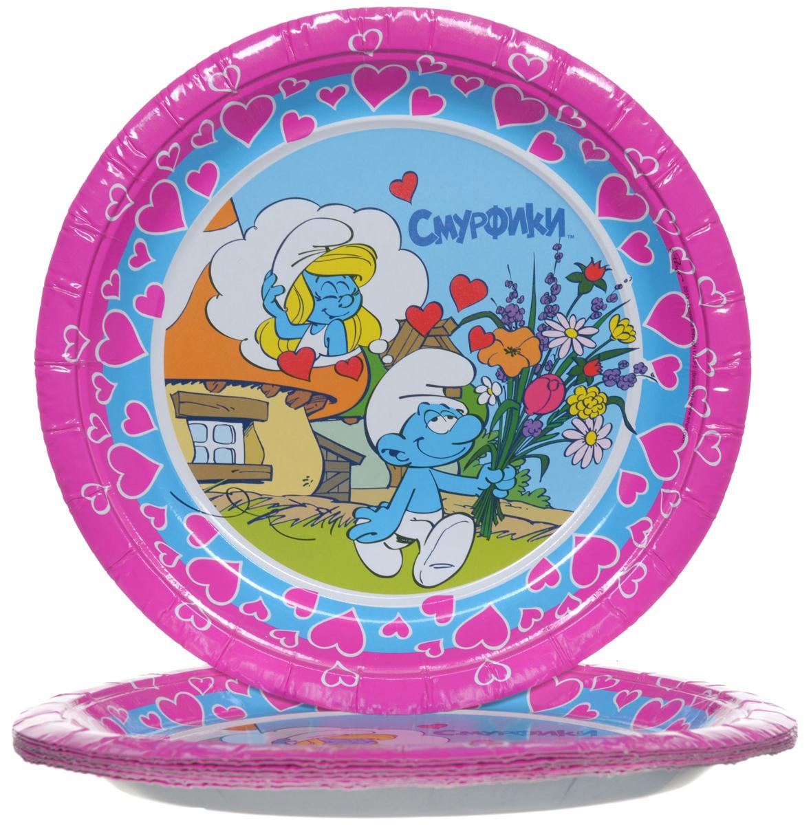 Смурфики Набор одноразовых тарелок цвет розовый 10 шт 21236 -  Сервировка праздничного стола