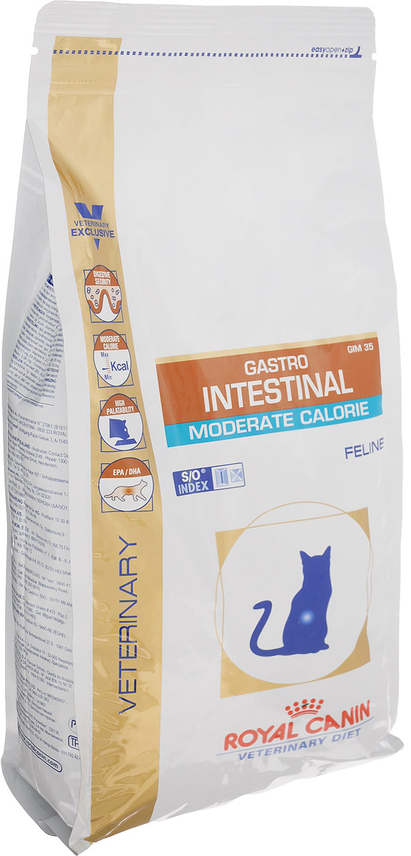Корм сухой диетический Royal Canin Gastro Intestinal. Moderate Calorie для кошек c пониженным содержанием жира при воспалении кишечника и нарушении пищеварения, 2 кг сухой корм royal canin gastro intestinal moderate calorie gim35 feline диета при панкреатите и нарушениях пищеварения для кошек 2кг 735020
