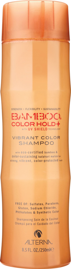 Alterna Шампунь для ухода за цветом Bamboo Color Care UV+ Vibrant Color Shampoo - 250 мл47010Нежно очищает, питает и увлажняет волосы, закладывая основной фундамент для сильных и здоровых волос. Обеспечивает волосам защиту от ультрафиолетовых лучей спектра UVA/UVB. Предотвращает вымывание цвета в процессе ухода за волосами и сохраняет насыщенность оттенка. Обладает наивысшей степенью по защите окрашенных волос. Повышает эластичность волос и придает оттенку окрашенных волос яркость и многомерное сияние. Содержит устойчивые фильтры, которые защищают волосы от окислительного повреждения. Масло семян дыни Калахари обеспечивает наивысшую защиту цвета волос, не утяжеляя волосы. Color care UV Vibrant Color Shampoo бережно ухаживает за окрашенными волосами, уберегает их от вредного воздействия ультрафиолетовых лучей, повышает эластичность волос и придает им ослепительный блеск. Результат: Шампунь глубоко питает окрашенные волосы и придает оттенку многомерный блеск и очаровательное сияние.