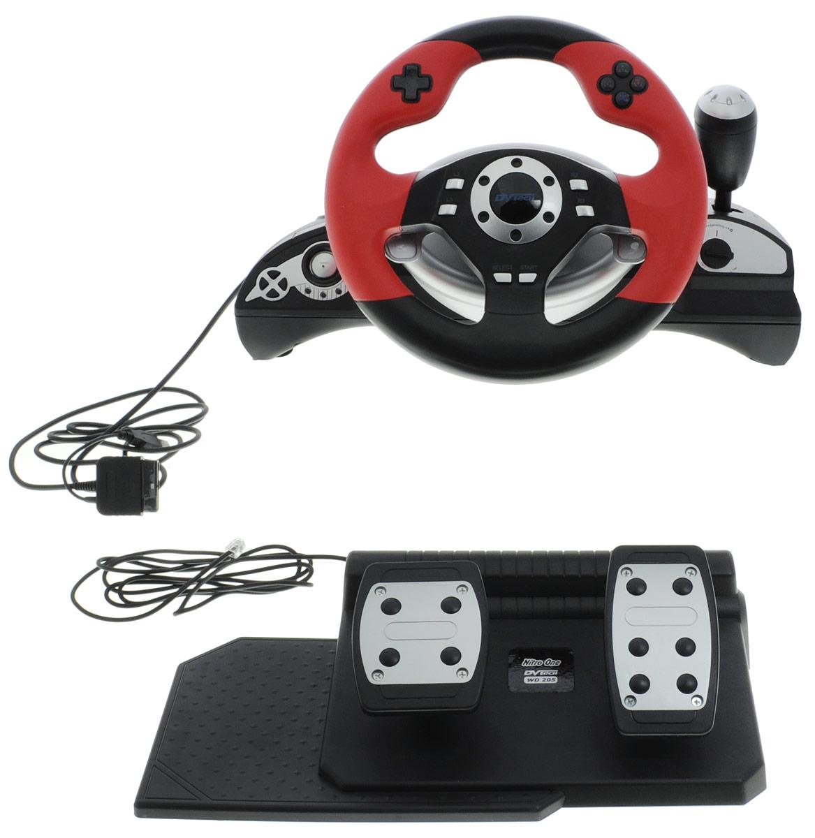 DVTech WD205 Nitro One руль для PC/PS2/PS36930149912053Начни погружение в мир автомобильных баталий с новым рулем Nitro One. DVTech сделали все, чтобы вам былокомфортно и легко постичь все тонкости управления автомобилем. Приложив свой водительский талант инемного удачи, с этим рулем вы можете стать победителем. Только положительные эмоции, просто подключайтеруль и начните погружение в мир высоких скоростей и автомобильных сражений!Возможность поворота рулевого колеса на 240 градусовФункция двойной вибрацииВозможность перепрограммирования педалей для PS3Диаметр рулевого колеса 25 смНастройка чувствительности рулевого колесаЭргономичная форма корпуса для надежного крепление к столу на присосках или размещения на коленяхЦифровой и аналоговой режим для PS2Кнопка PS для подключения и доступа к меню PS3Удобное расположение кнопок для комфортной игрыФункция автоматического центрирования рулевого колеса при подключении к игровым приставкам или ПК