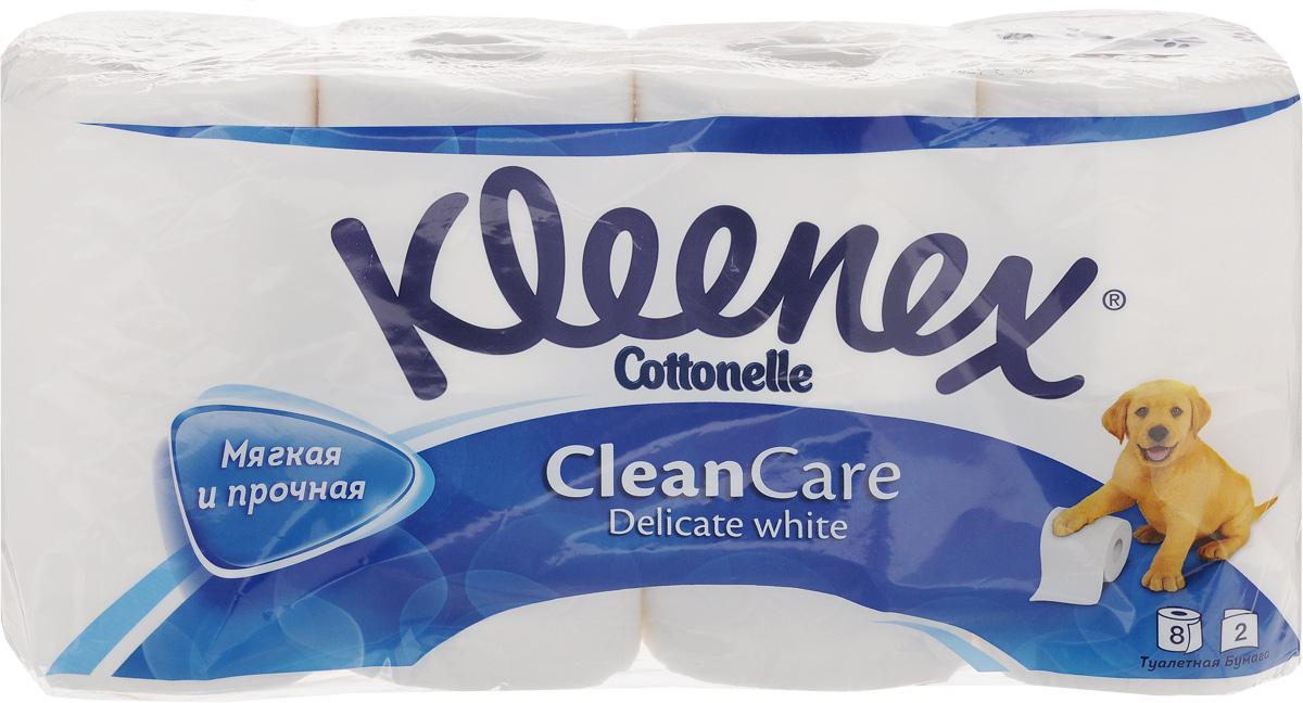 Туалетная бумага Kleenex Delicate White, двухслойная, цвет: белый, 8 рулонов9450008Двухслойная туалетная бумага Kleenex Delicate Whiteизготовлена из целлюлозы высшего качества. Листы белогоцвета имеют рисунок с тиснением в виде собачек. Мягкая,нежная, но в тоже время прочная, бумага не расслаивается иотрывается строго по линии перфорации.