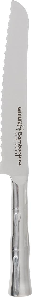 Нож для нарезки хлеба Samura Bamboo, длина лезвия 19,4 см. SBA-0055SBA-0055Нож Samura Bamboo идеально подходит для нарезки хлеба всех сортов, овощей и других продуктов. Лезвие ножа изготовлено из нержавеющей стали.Уникальная технология двойного закаливания лезвия и оригинальный дизайн сделают такой нож отличным кухонным помощником.Процесс резки происходит плавно и легко. Нож не оставляет после себя запаха и послевкусия стали, что позволяет полностью сохранить свежесть продуктов. Нож устойчив к появлению пятен и коррозии. Используйте ножи только на разделочной доске из дерева или пластика (стеклянные доски способны затупить любую сталь). Можно мыть в посудомоечной машине. Длина ножа: 32 см.