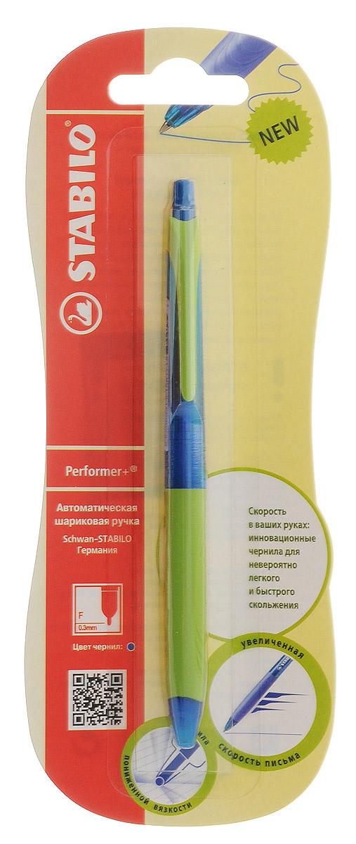 Stabilo Ручка шариковая автоматическая Performer + цвет чернил синий цвет корпуса синий зеленый328/41-1B_синий,зеленыйАвтоматическая шариковая ручка Performer + 328 сочетание яркого привлекательного дизайна и комфорта при письме. Новый усовершенствованный состав масляных чернил пониженной вязкости обеспечивает особую мягкость и скорость письма. Ручка не требует нажима и позволяет написать больше, чем обычная шариковая ручка за тот же промежуток времени. Специальная технология обжатия шарика обеспечивает тонкую аккуратную линию. Экономичный расход чернил существенно увеличивает срок службы модели. Эргономичная область обхвата из приятного на ощупь материала предотвращает скольжение пальцев и снижает усталость даже при длительном письме. Сменный стержень.