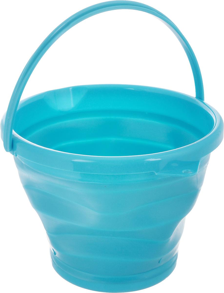 Ведро складное Коллекция, цвет: голубой, 10 лОСВД-10Складное ведро Коллекция изготовлено из термопластичной резины и пластика. Благодаря гибкости и пластичности материала,ведро легко складывается и раскладывается. В сложенном состоянии занимает минимум места. Пластиковые вставки отлично держатформу изделия. Ведро прекрасно подходит для хранения различных бытовых вещей и других предметов. Для удобной переноскиимеется ручка. Такое практичное и функциональное ведро пригодится в любом хозяйстве. Высота в сложенном виде: 5 см.