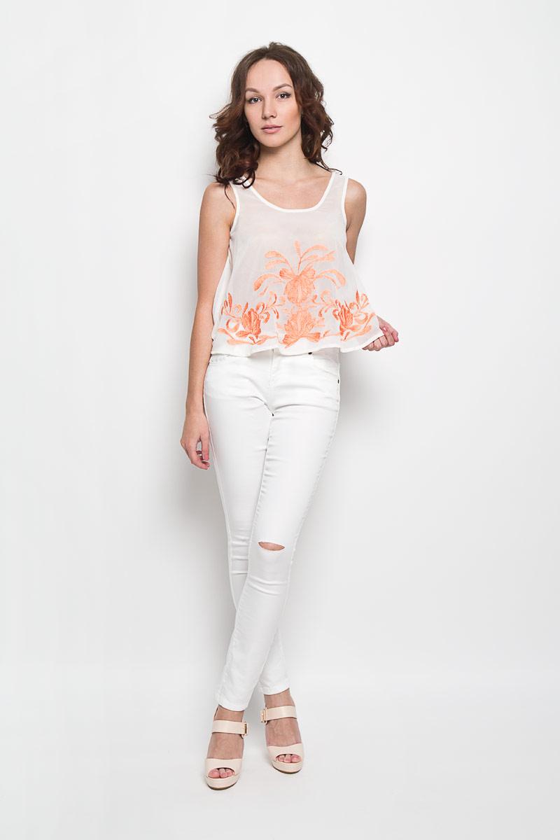 Топ женский Glamorous, цвет: молочный, коралловый. KA4839. Размер XS (42) джинсы glamorous glamorous gl008ewqpj48