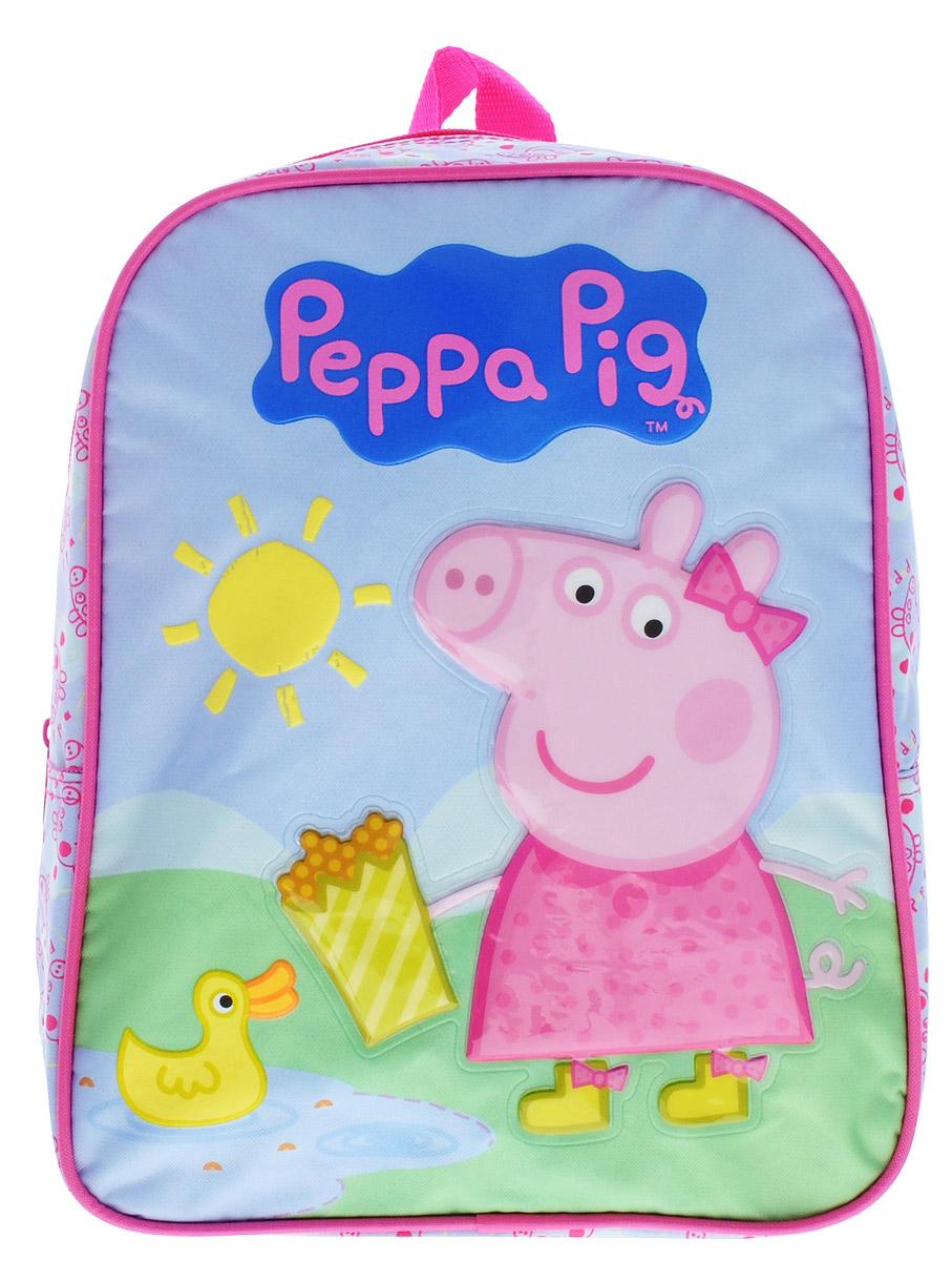 Peppa Pig Рюкзак дошкольный средний Утка30074Средний дошкольный рюкзак Peppa Pig Утка обязательно понравится каждой любительнице популярного мультфильма про Свинку Пеппу. Рюкзак выполнен из прочного полиэстера и украшен изображением свинки Пеппы (аппликация PVC), кормящей уточку в пруду (сублимированная печать и пафф-принтинг). Рюкзак имеет одно отделение на молнии, широкие мягкие регулируемые лямки и специальную ручку для размещения на вешалке. Износостойкая ткань с водоотталкивающей пропиткой сохранит содержимое рюкзака сухим.Порадуйте свою малышку таким замечательным подарком!