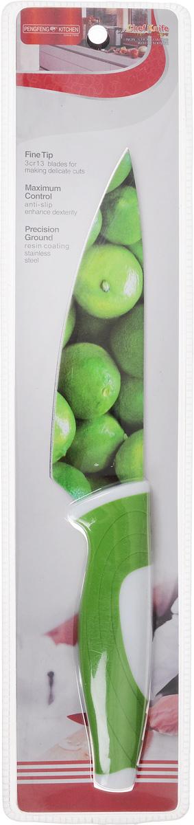 Нож поварской Empire of dishes, цвет: зеленый, белый, длина лезвия 14 смIM99-4719/3Нож поварской Empire of dishes, изготовленный из высококачественной нержавеющей стали, идеально подходит для измельчения и нарезки ломтиками продуктов. Нож оснащен удобной эргономичной рукояткой,выполненной из высококачественного пластика. Она не скользит в руках и делает резку удобной и безопасной.Яркий и нетривиальный дизайн ножа будет радовать его обладателя каждый раз, когда возникнут хлопоты на кухне.Общая длина ножа: 27,5 см.