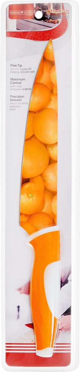 Нож поварской Empire of dishes, цвет: оранжевый, белый, длина лезвия 19 смIM99-4721/2Нож поварской Empire of dishes, изготовленный из высококачественной нержавеющей стали, идеально подходит для измельчения и нарезки ломтиками продуктов. Нож оснащен удобной эргономичной рукояткой,выполненной из высококачественного пластика. Она не скользит в руках и делает резку удобной и безопасной.Яркий и нетривиальный дизайн ножа будет радовать его обладателя каждый раз, когда возникнут хлопоты на кухне.Общая длина ножа: 32,5 см.