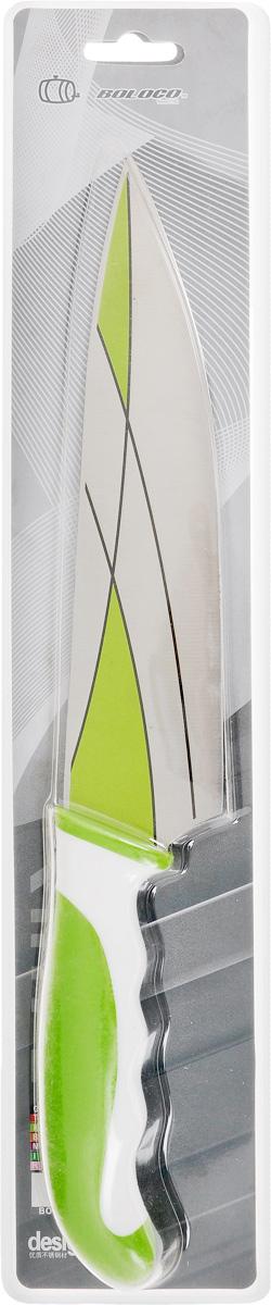 Нож поварской Boloco, цвет: зеленый, белый, длина лезвия 20,5 смIM99-4708/2Поварской Boloco, изготовленный из высококачественной нержавеющей стали, идеально подходит для нарезки мяса, рыбы, овощей и фруктов. Нож оснащен удобной эргономичной рукояткой,выполненной из высококачественного пластика. Она не скользит в руках и делает резку удобной и безопасной.Яркий и нетривиальный дизайн ножа будет радовать его обладателя каждый раз, когда возникнут хлопоты на кухне.Общая длина ножа: 33 см.