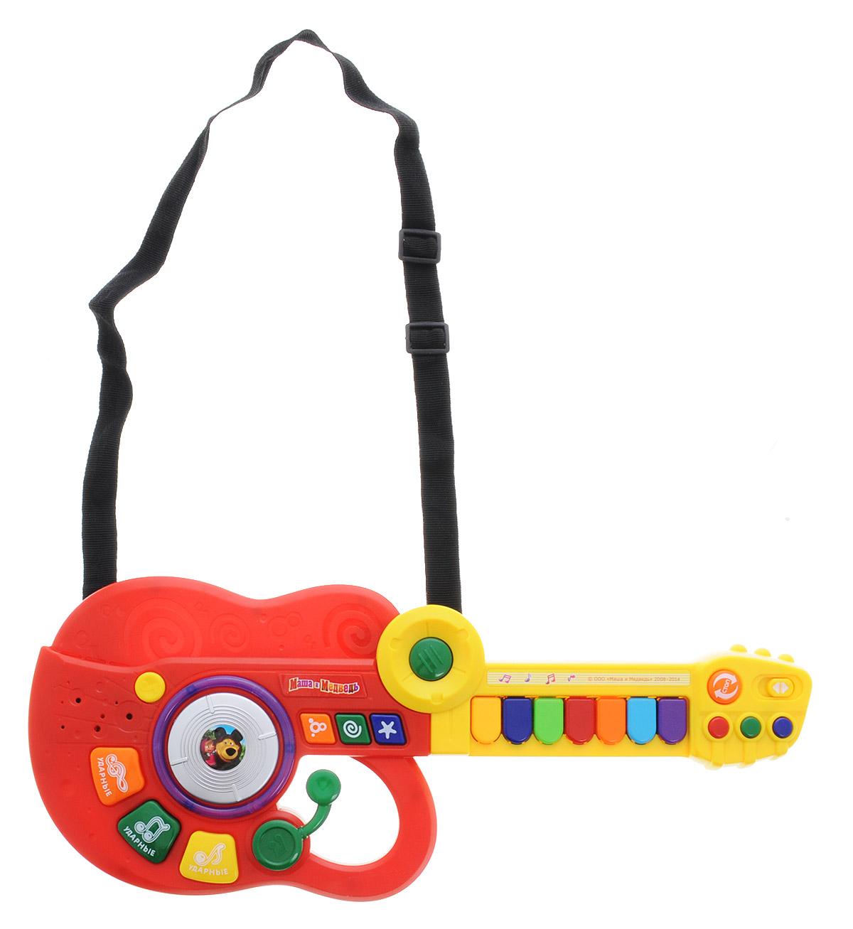 Играем вместе Электрогитара-синтезатор Маша и Медведь цвет красный желтый - Музыкальные инструменты