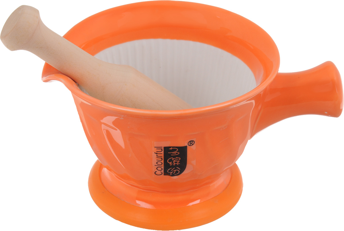 Ступка с пестиком Empire of Dishes, цвет: оранжевыйIM99-5228Ступка с пестиком Empire of Dishes, выполненные из высококачественной керамики и дерева, украсят современныйинтерьер и добавят изысканный штрих вашему кухонному пространству. Изделия предназначены дляизмельчения различных специй и трав, орехов, чеснока, каперсов и многого другого. Дно ступки оснащено силиконовой вставкой. Для эффективного измельчения рабочая часть изделий шероховатая. С таким набором вы слегкостью добьетесь необходимой вам консистенции продукта.Не рекомендуется использовать в микроволновой печи и мыть в посудомоечной машине. Размер ступки (по верхнему краю): 14,5 см х 13 см.Диаметр дна ступки: 9,5 см.Глубина ступки: 8 см.Высота ступки: 10 см.Длина пестика: 15 см.Диаметр рабочей поверхности пестика: 7 х 3 см.