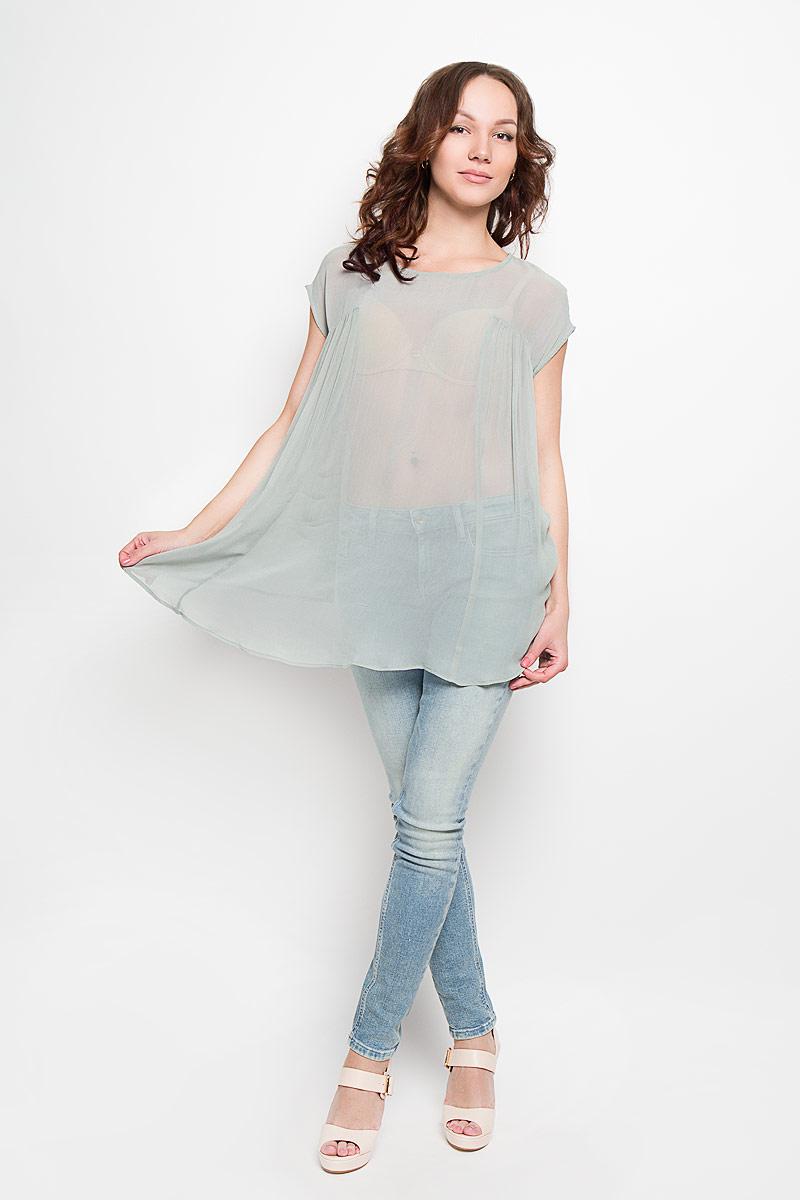 Блузка женская Glamorous, цвет: пыльная мята. IN0013. Размер L (48)IN0013Стильная женская блузка Glamorous, выполненная из 100% вискозы, подчеркнет ваш уникальный стиль и поможет создать женственный образ. Модель c круглым вырезом горловины и короткими рукавами-кимоно. Блуза сзади дополнена небольшим разрезом, который застегивается на пуговицу по линии горловины. Спереди модель оформлена складками и удлинена. Такая блузка будет дарить вам комфорт в течение всего дня и послужит замечательным дополнением к вашему гардеробу.