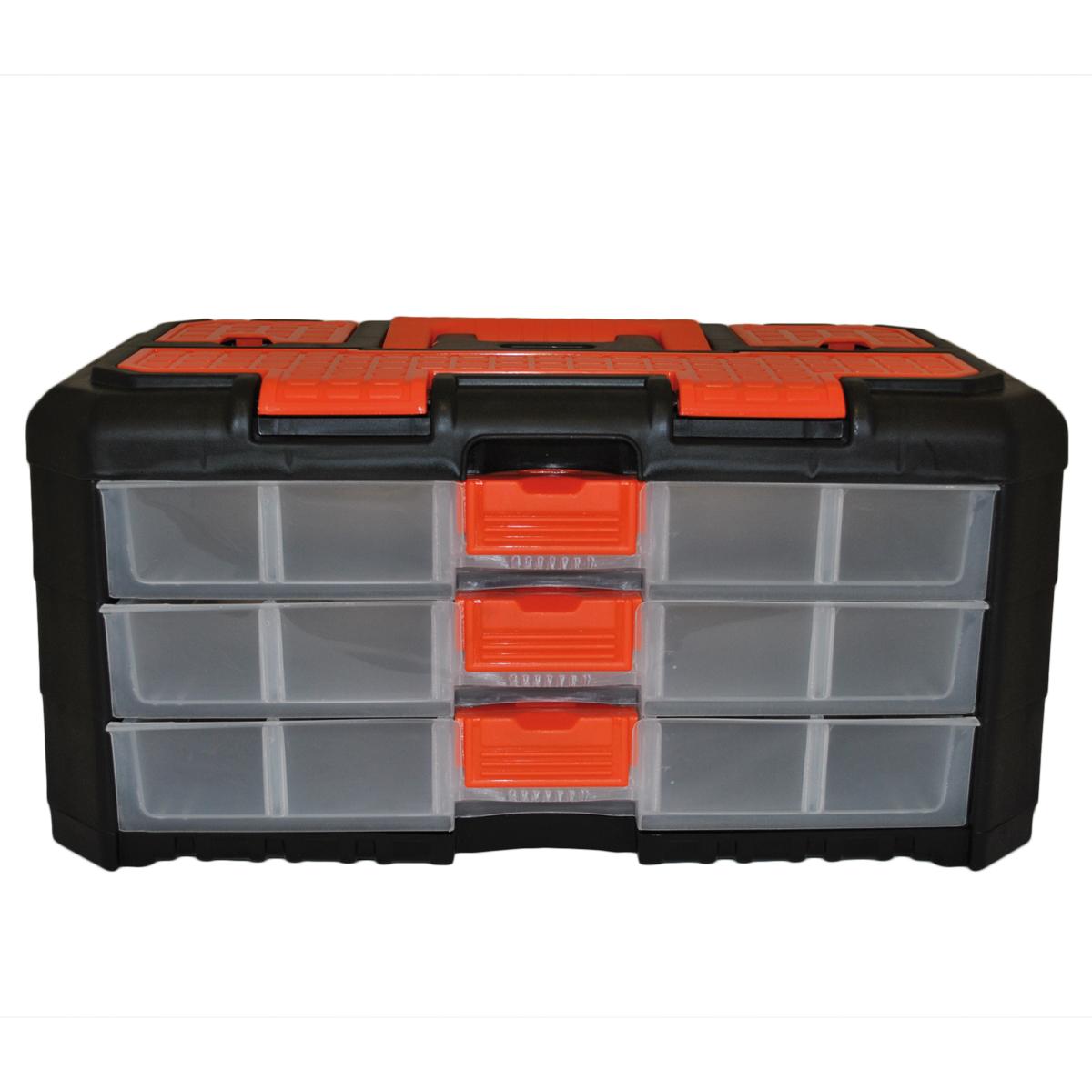 Органайзер для мелочей Blocker Grand, цвет: черный, оранжевый, 400 х 219 х 197 ммBR3736ЧРОРУниверсальный сет для мелочей Blocker Grand с ручкой для переноски выполнен из высококачественного полипропилена. Секции фиксируются замками, которые надежно защищают от случайного открывания. Внутри секции разделены съемными перегородками, что позволяет организовать внутреннее пространство в зависимости от потребностей и делает сет пригодным для хранения не только мелочей, но и предметов средней величины. Встроенные секции на крышке подходят для хранения скобяных изделий.