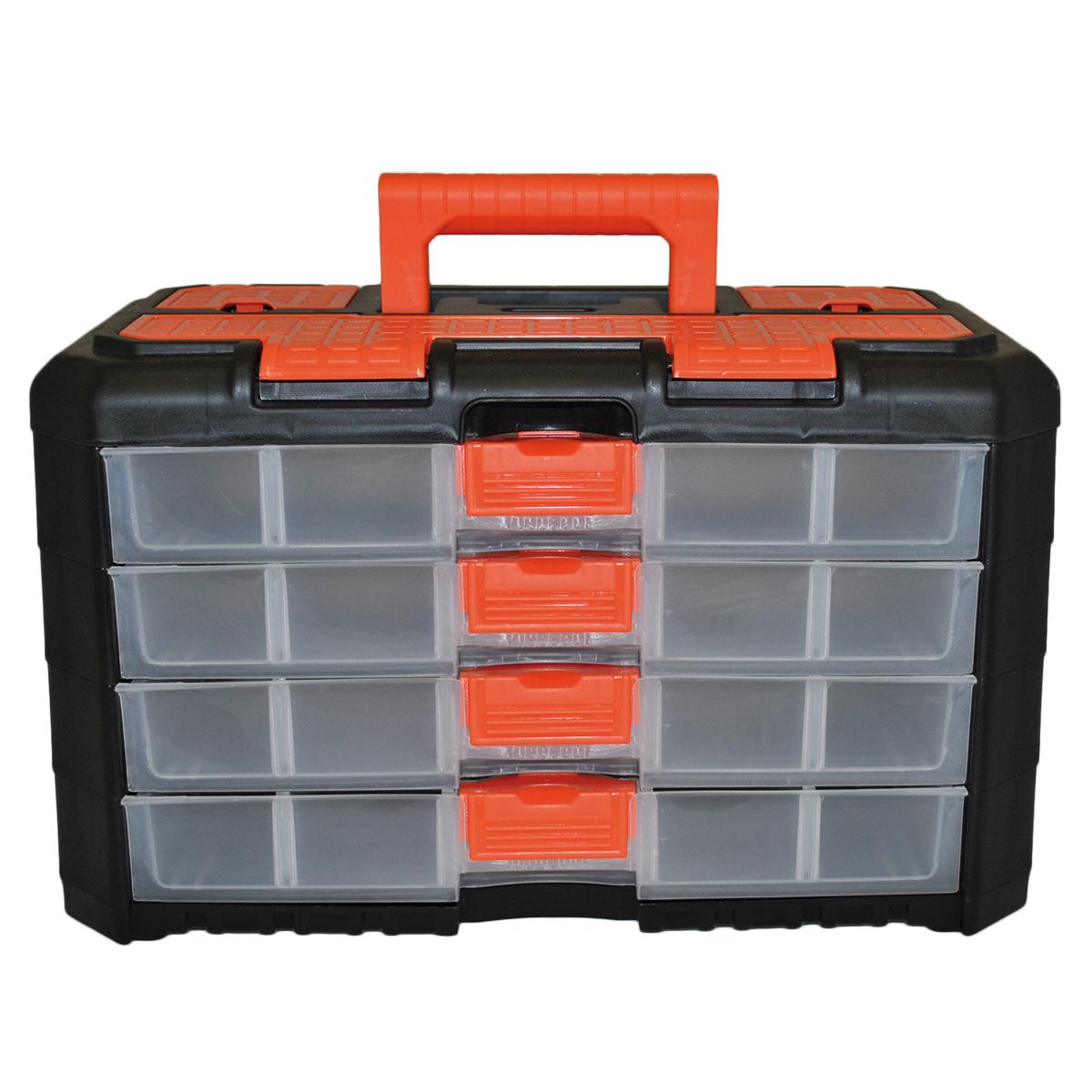 Органайзер для мелочей Blocker Grand, цвет: черный, оранжевый, 400 х 219 х 247 ммBR3737ЧРОРУниверсальный сет для мелочей Blocker Grand с ручкой для переноски выполнен из высококачественного полипропилена. Секции фиксируются замками, которые надежно защищают от случайного открывания. Внутри секции разделены съемными перегородками, что позволяет организовать внутреннее пространство в зависимости от потребностей и делает сет пригодным для хранения не только мелочей, но и предметов средней величины. Встроенные секции на крышке подходят для хранения скобяных изделий.