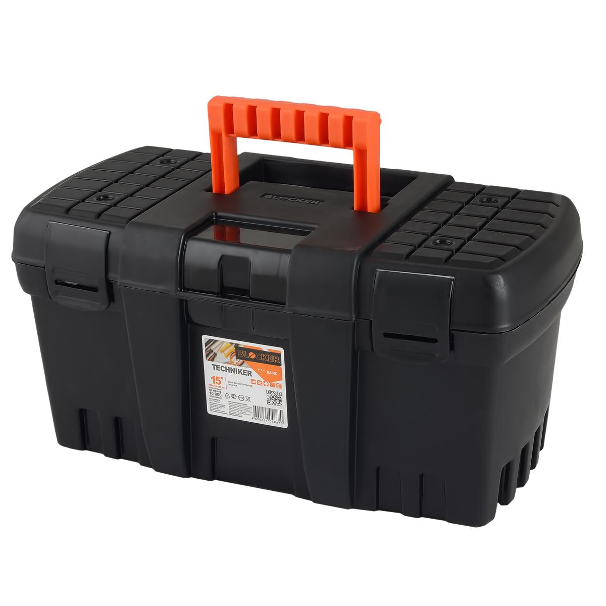 Ящик для инструментов Blocker Techniker, цвет: черный, 460 х 250 х 233 ммBR3748ЧРЯщик Blocker Techniker отлично подходит для организации хранения и транспортировки инструментов и принадлежностей к ним в автомобиле, на даче или дома. Петли и замки выполнены единым элементом с корпусом. Не имеет внутреннего лотка. Каждый элемент имеет ресурс 10 000 изгибов, что позволяет интенсивно эксплуатировать продукт несколько лет.